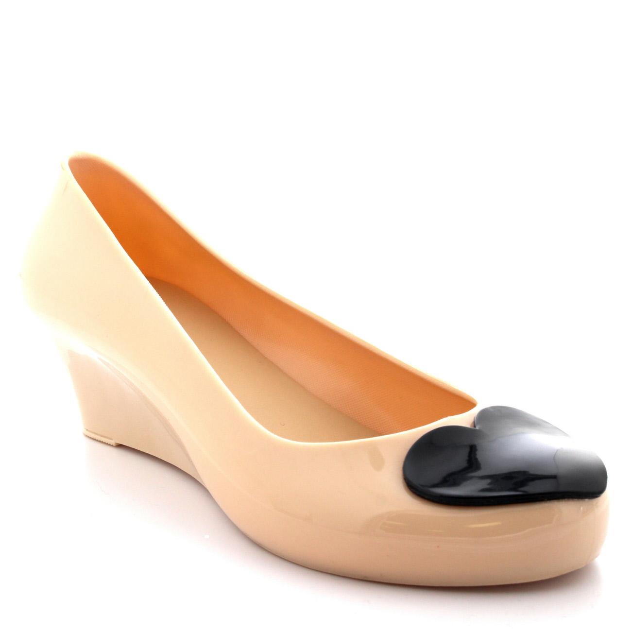 Details about Womens Love Heart Slip On Summer Jelly Wedge Heel Ballet Ballerina Shoes UK 3 9
