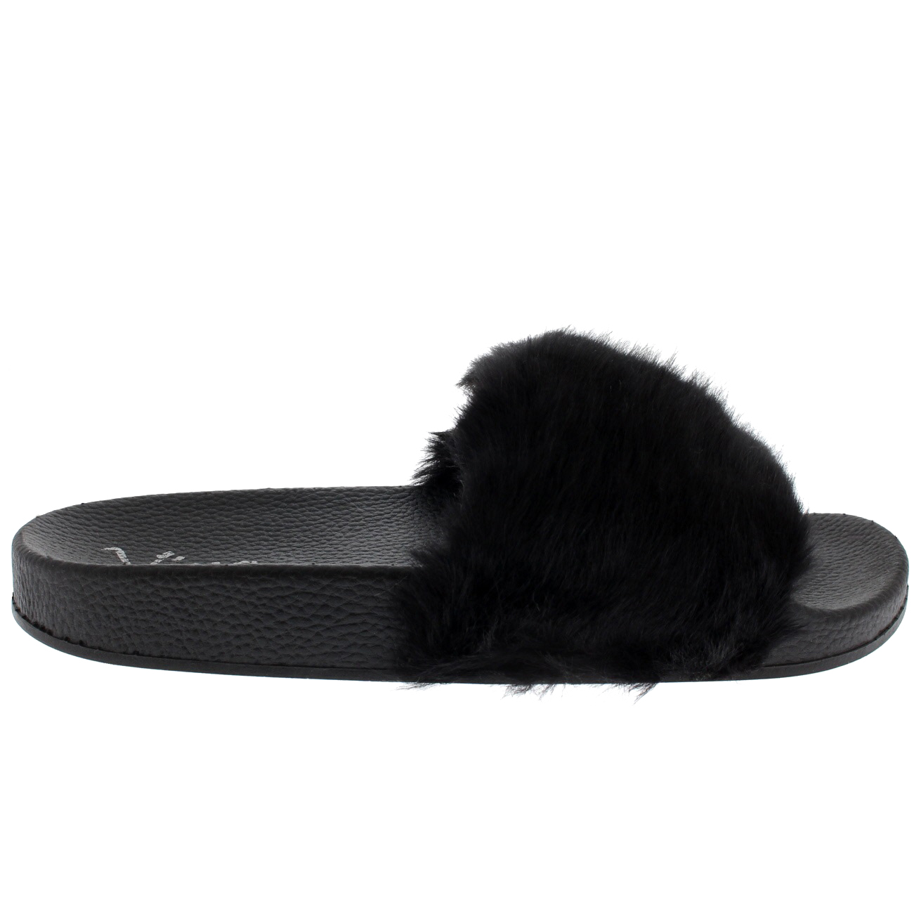 7eaa78d364fb Womens Faux Fur Single Strap Open Toe Fluffy Flat EVA Fashion ...