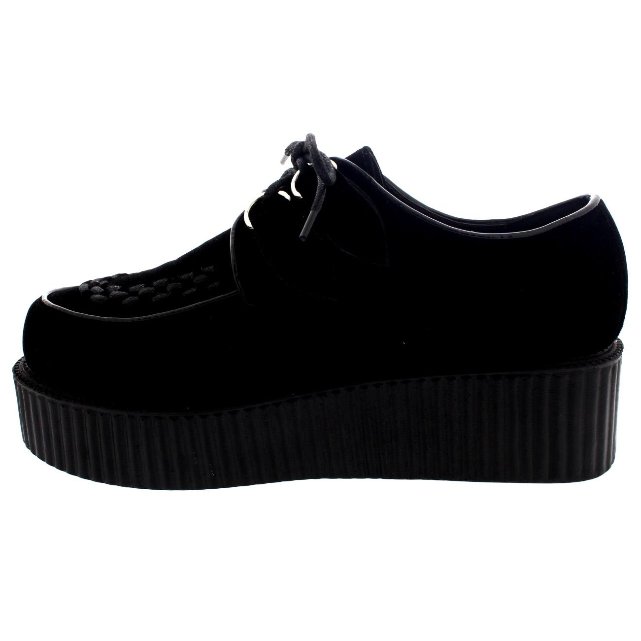 22ae11d7e142 Womens Double Platform Retro Punk Festival Rock Brothel Creepers Shoes UK 3- 9