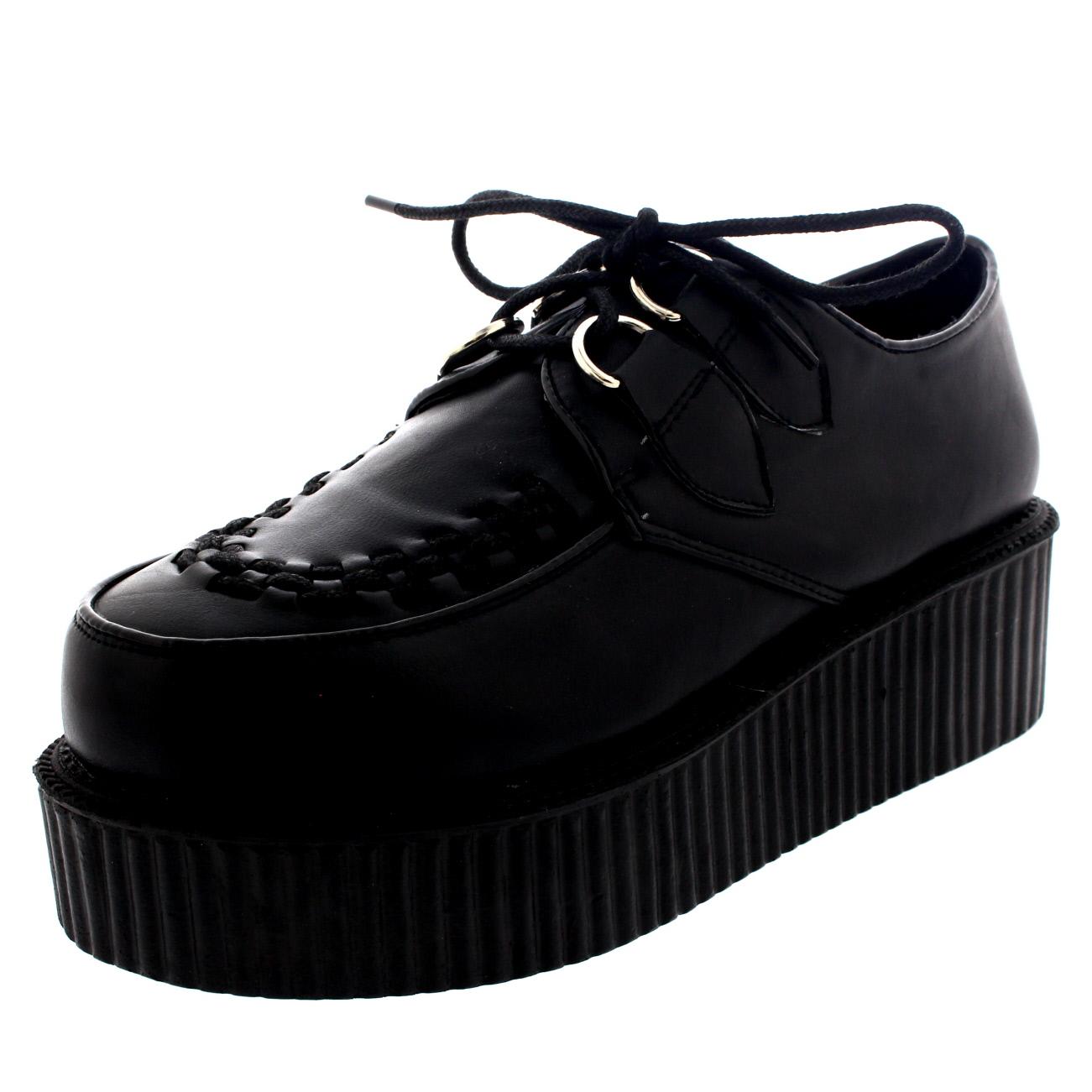 84a8d040a151 Womens Double Platform Retro Punk Festival Rock Brothel Creepers Shoes UK 3- 9