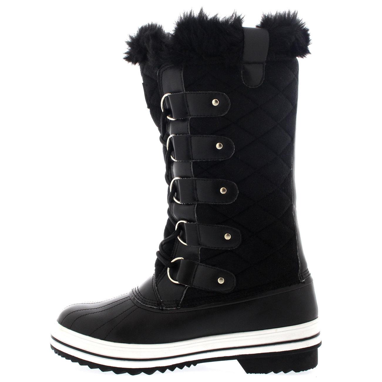 Womens Quilted Rain Lace Up Fur Lined Warm Shoes Duck Winter Snow ... 7fc253d14