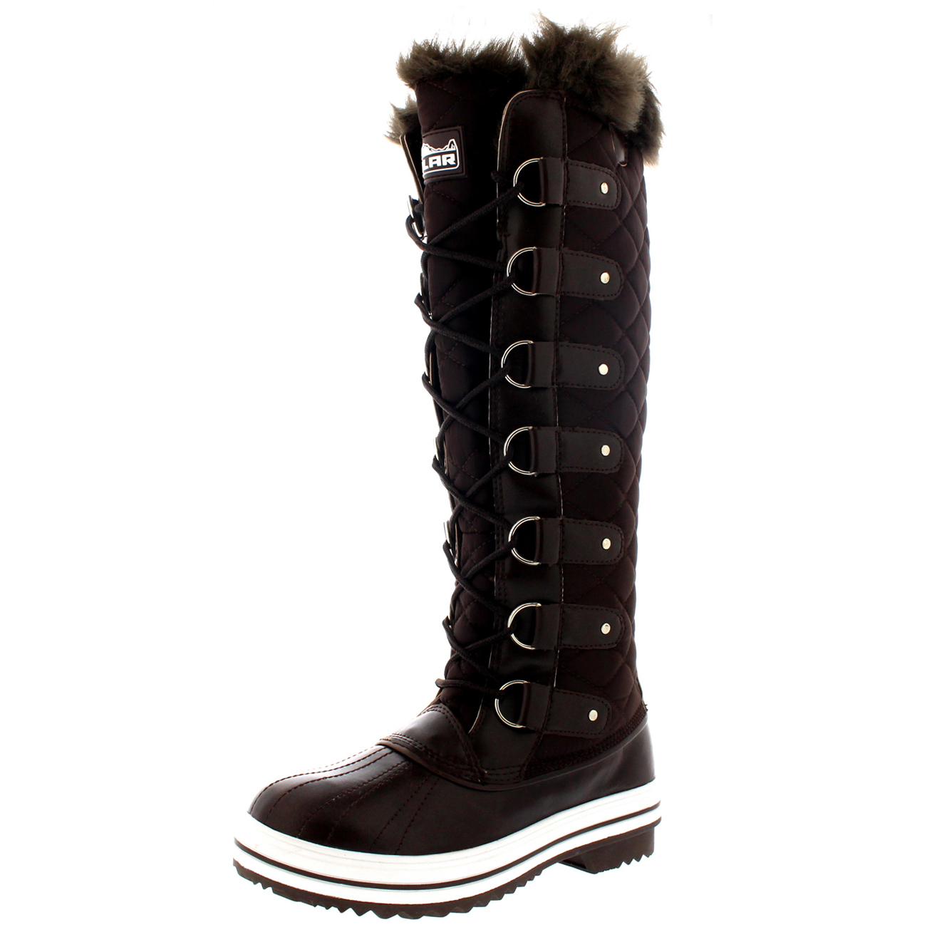 47f4f22a10e Womens Quilted Knee High Duck Fur Lined Rain Lace Up Muck Snow ...