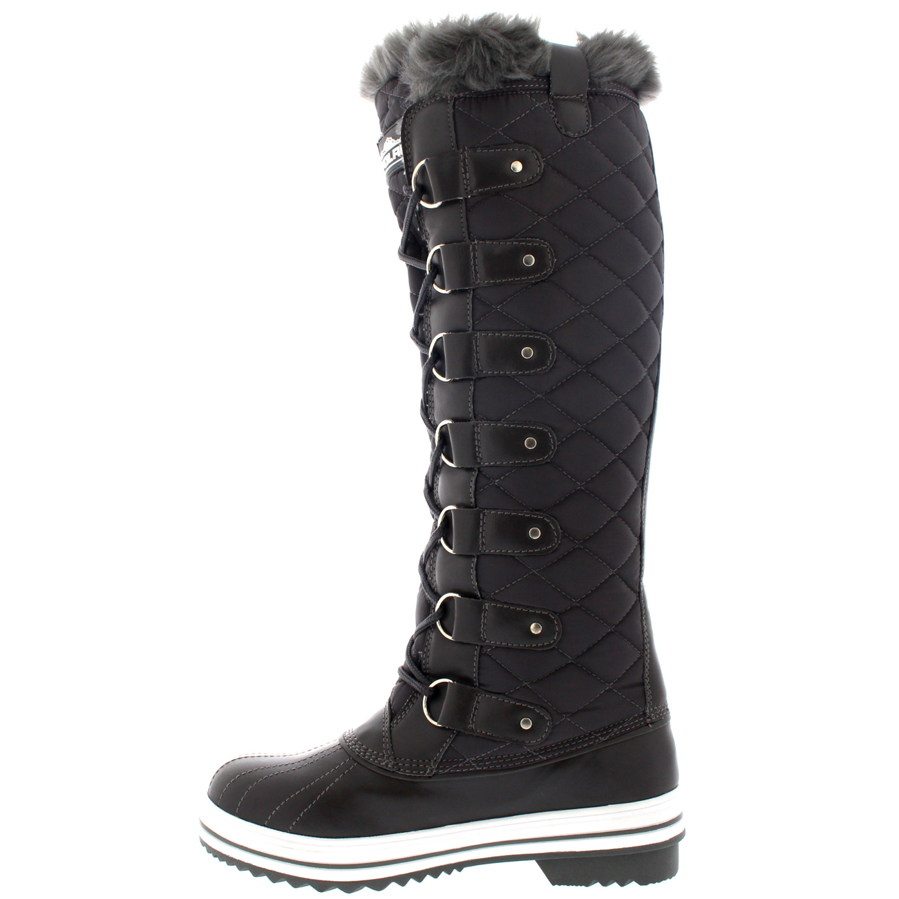Womens Quilted Knee High Duck Fur Lined Rain Lace Up Muck