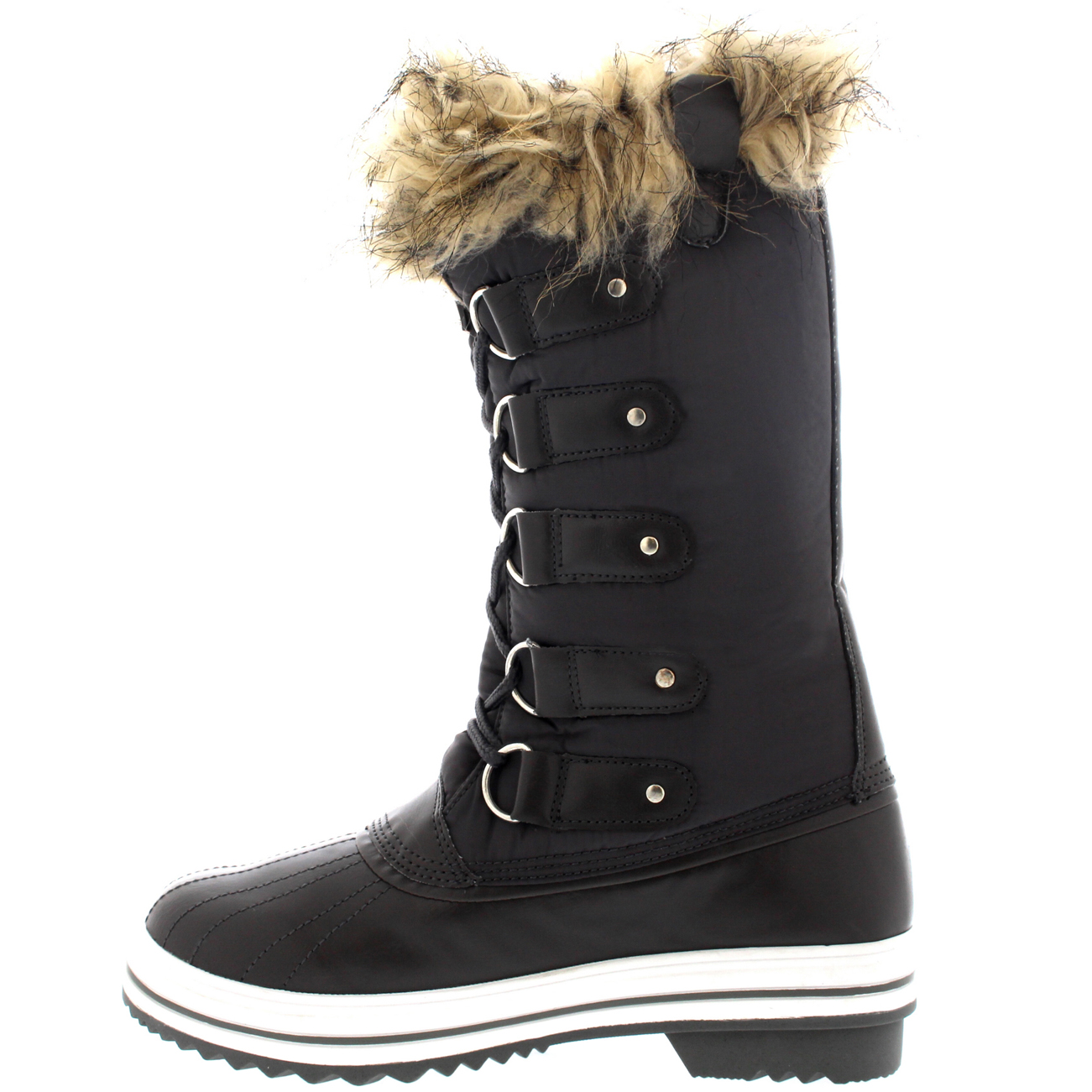 Womens Fur Cuff Lace Up Rubber Sole Tall Winter Waterproof Snow Rain Shoe Boots