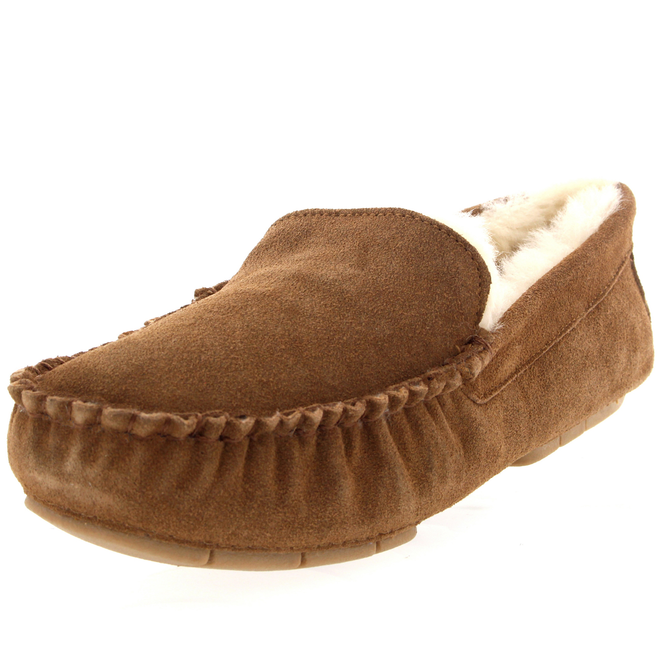 Mens Real Suede Australian Fur Sheepskin Moccasins Fur Lined Slipper Shoes 6-14 | eBay