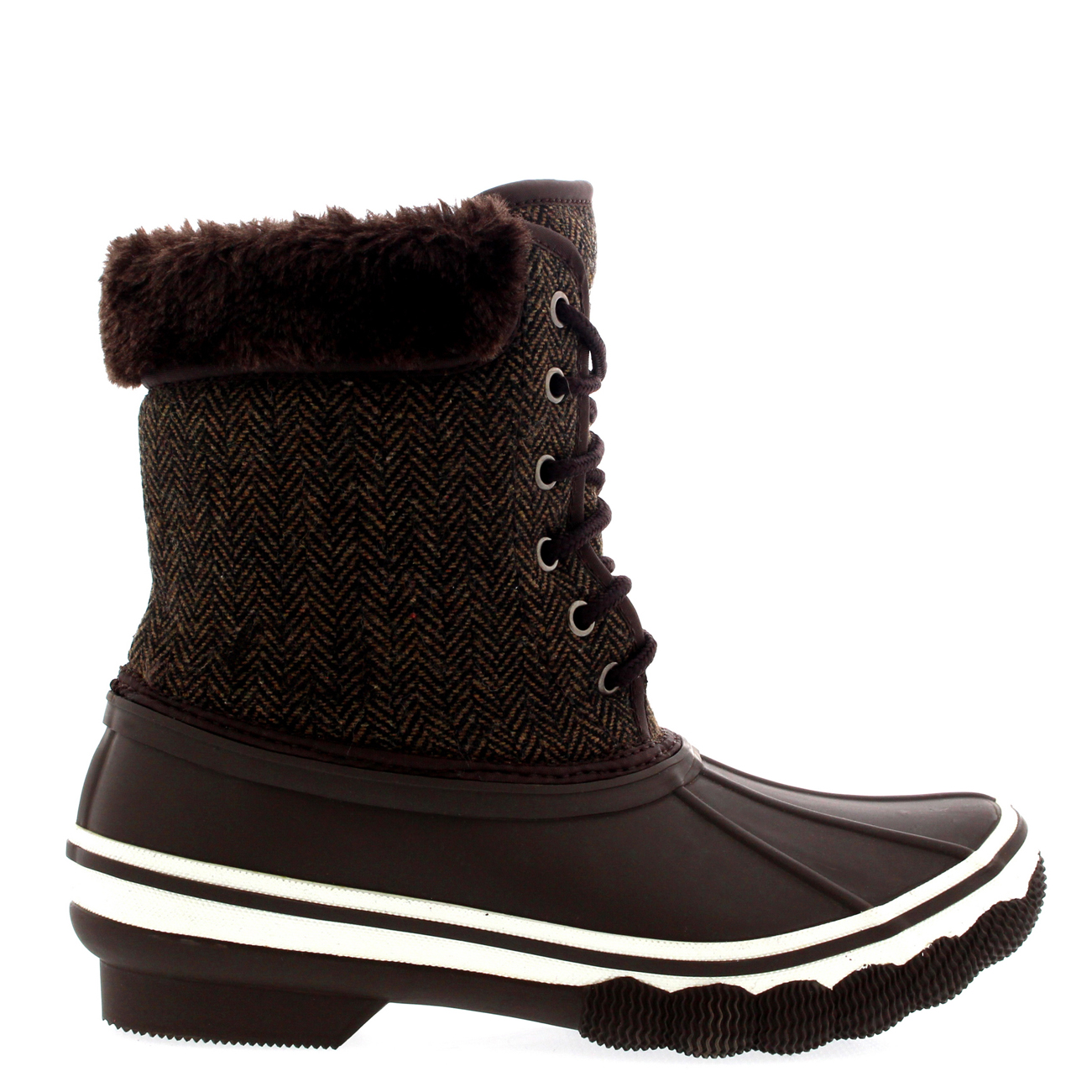 Womens Rubber Sole Deep Tread Winter Textile Fur Cuff Snow