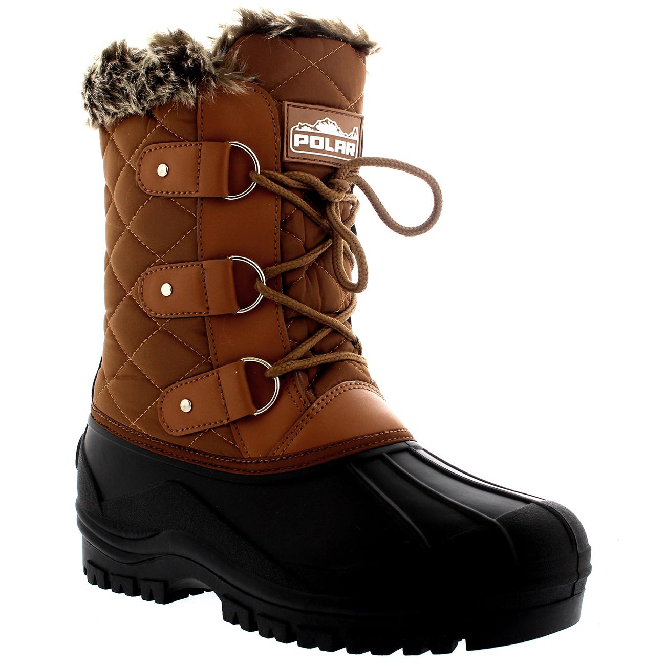 Womens Faux Fur Tactical Mountain Waterproof Hiker Mid