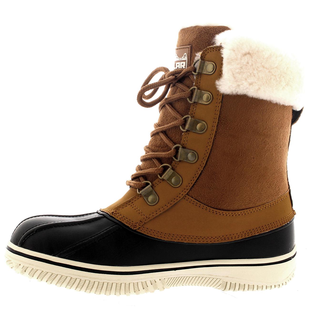 5a34deedb88 Details about Womens Polar Real Australian Sheepskin Cuff Winter Snow Mid  Calf Boots UK 3-10