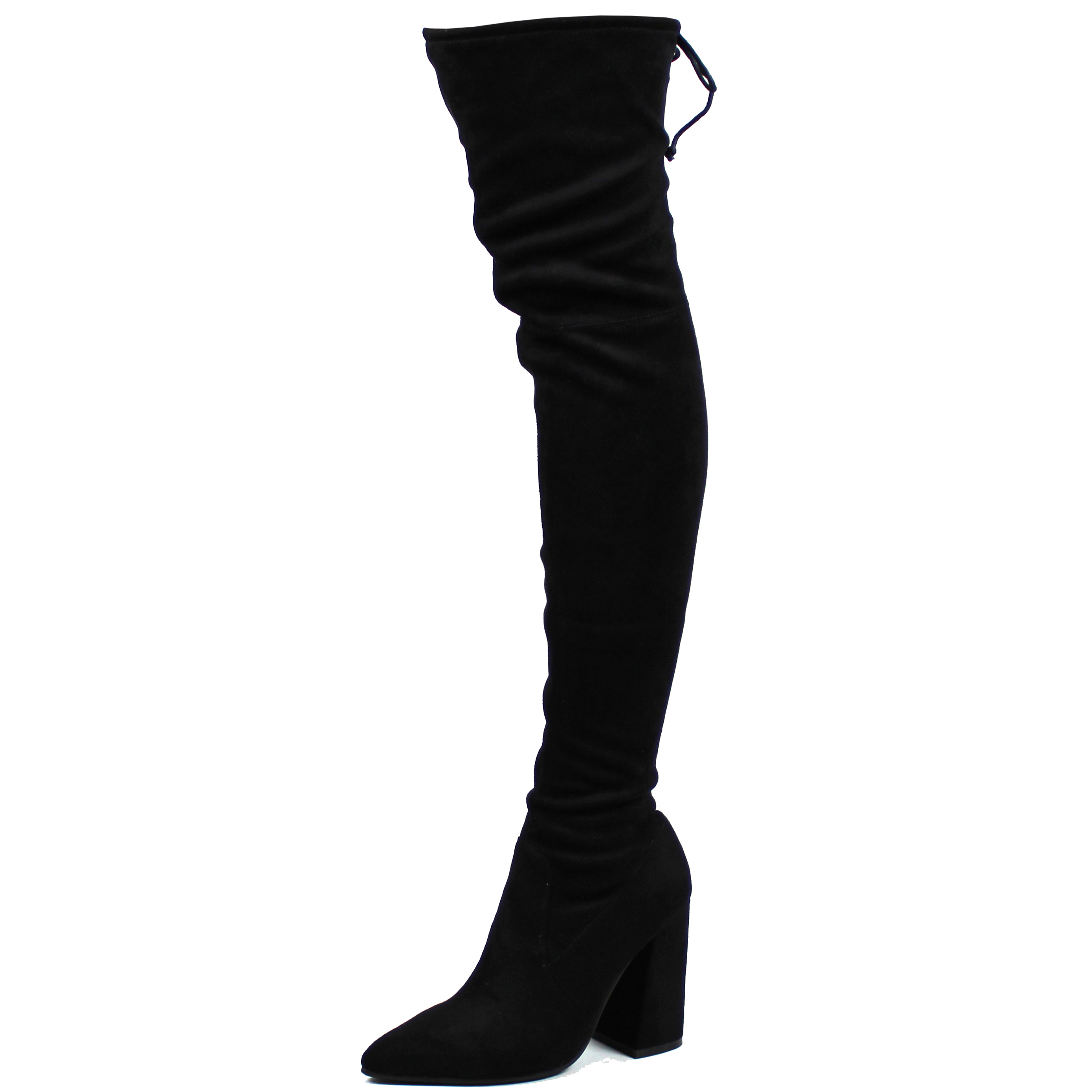 8d41f701ac6 Womens Pointed Toe Block Heel Sock Fit Over Knee Fashion Thigh High Boot UK  3-10