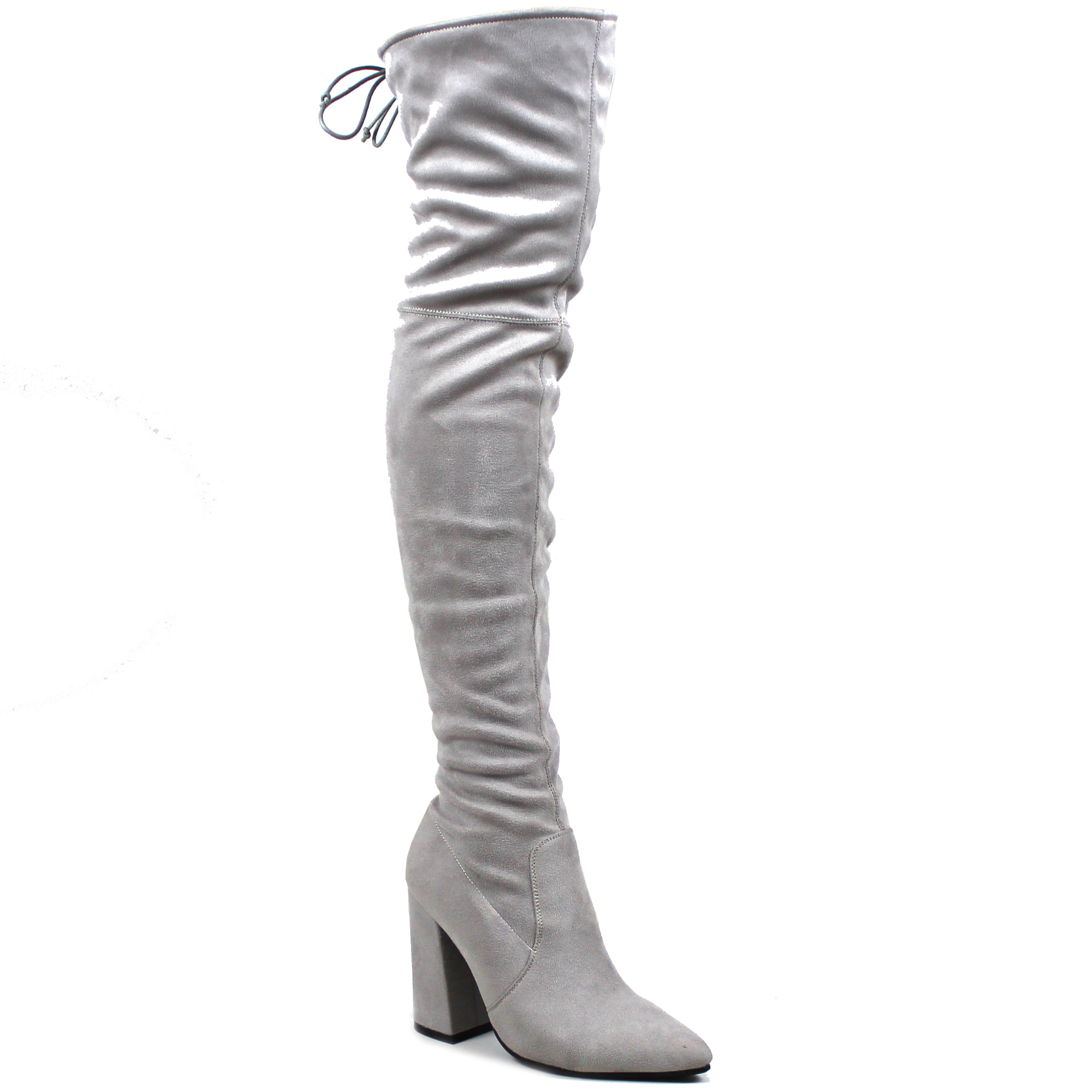fabfcaf64ce9 Womens Pointed Toe Block Heel Sock Fit Over Knee Fashion Thigh High ...