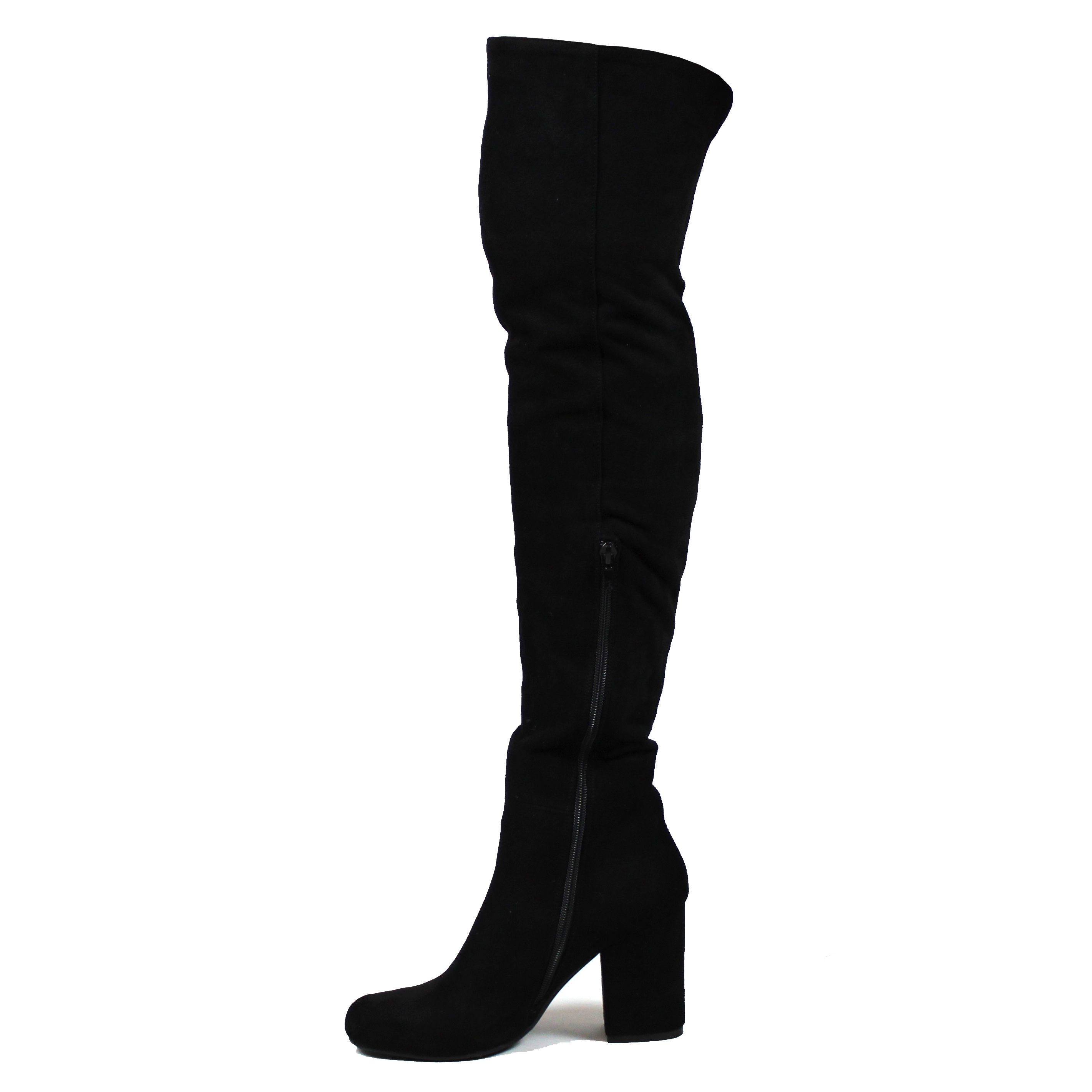 ca5ea560521 Womens Low Block Heel Thigh High Slouch Fashion Winter Over Knee ...