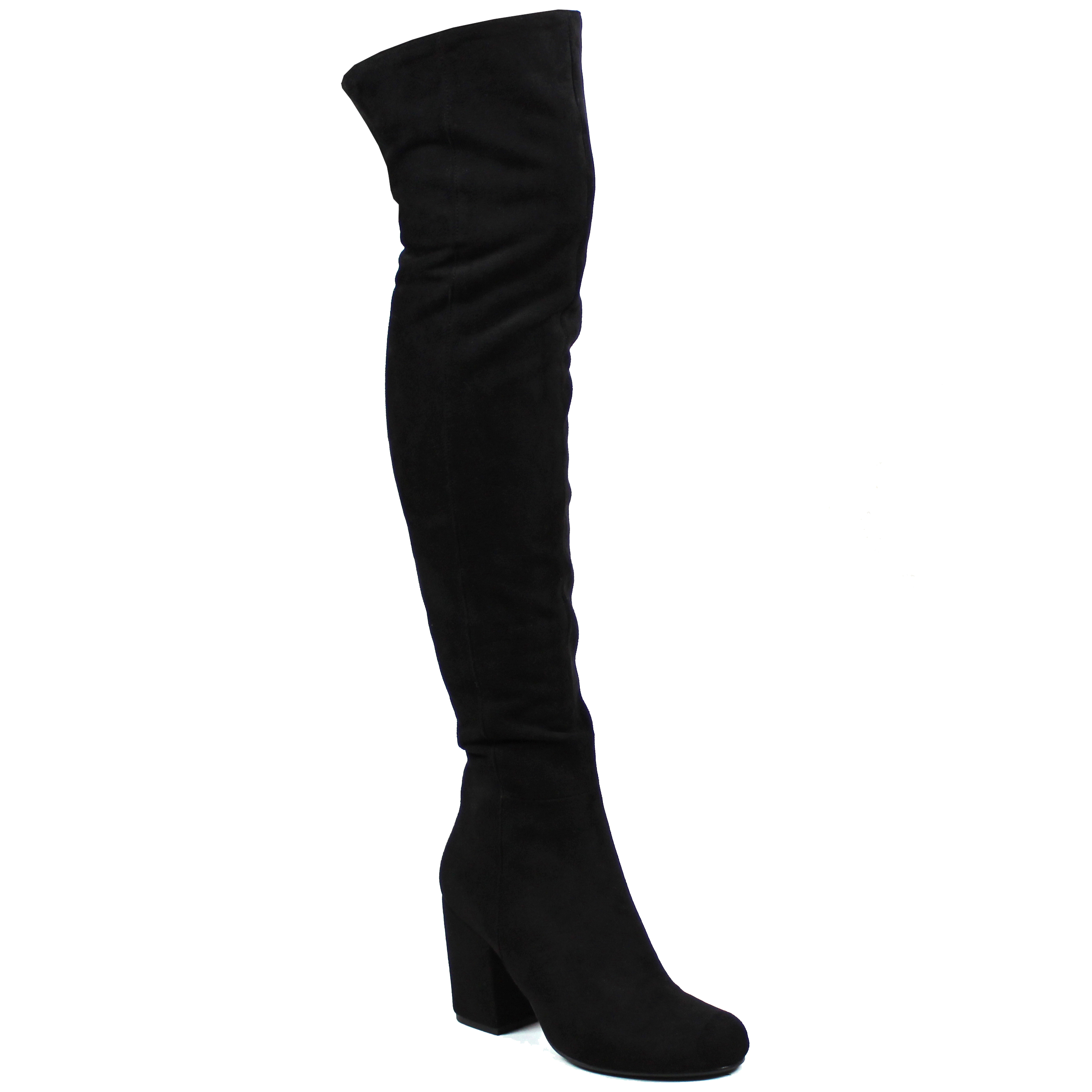 Womens Low Block Heel Thigh High Slouch Fashion Winter Over Knee ... 0996e8ce4