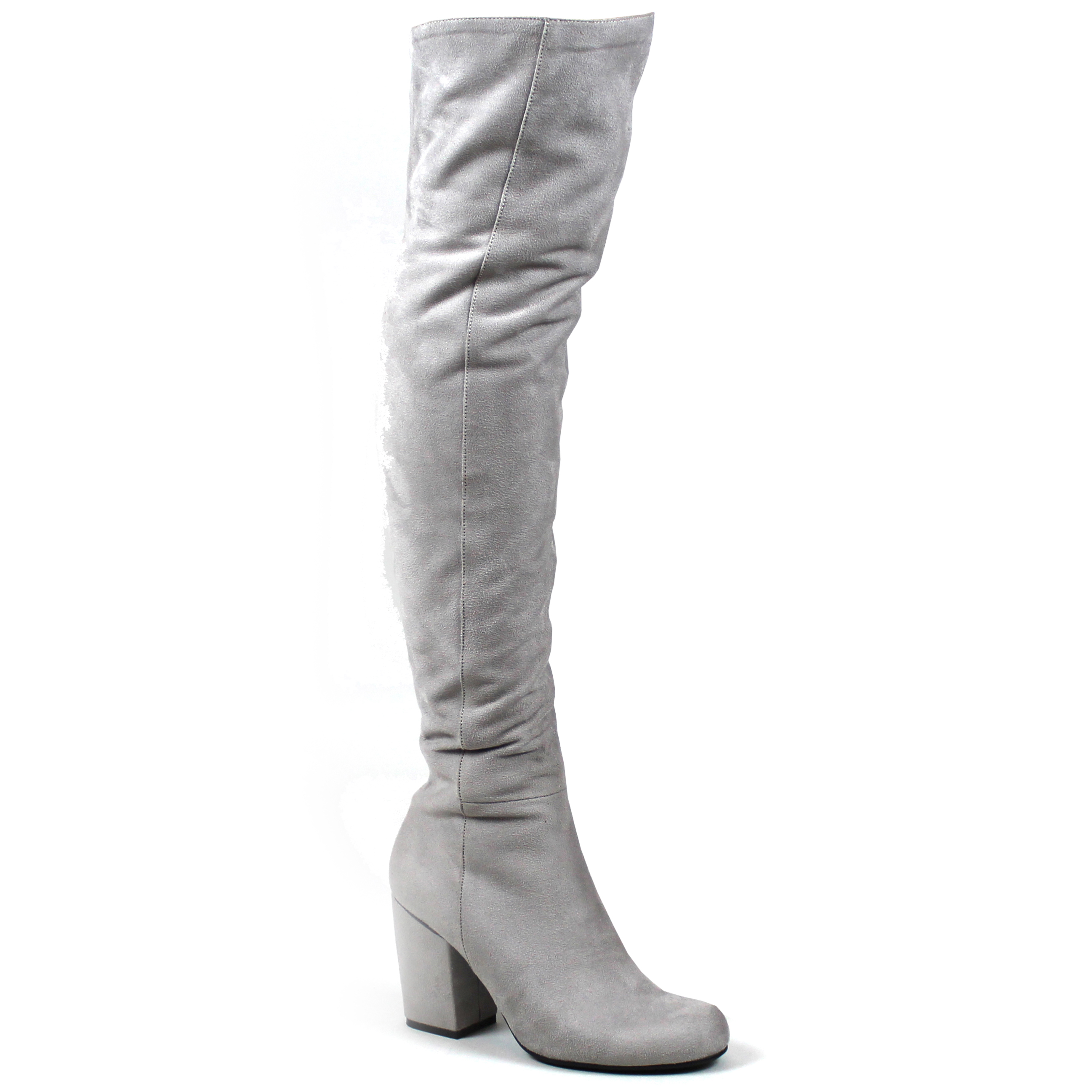 7f0a2d1058c Womens Low Block Heel Thigh High Slouch Fashion Winter Over Knee ...