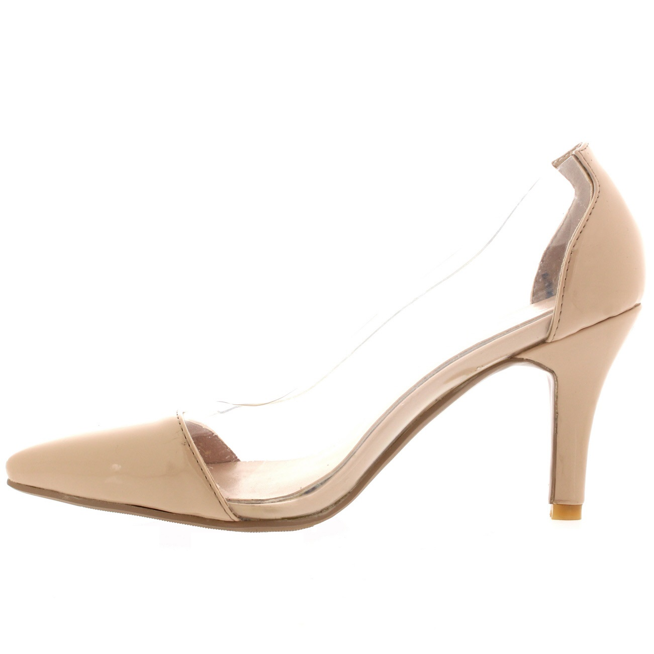 31137bdd973 Womens Pointed Toe Perspex Clear Mid Heels Fashion Cut Out Court ...