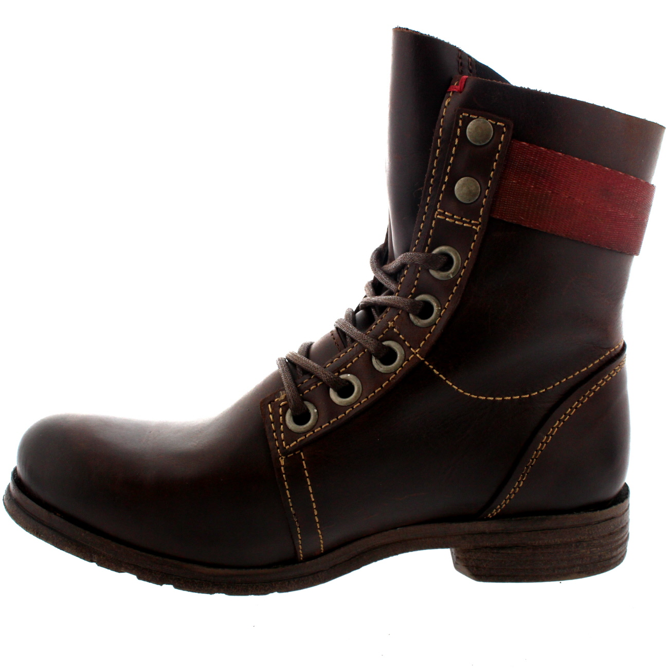 bfbdd0560eb Womens Fly London Stay Lace Up Leather Buckle Military Biker Ankle ...