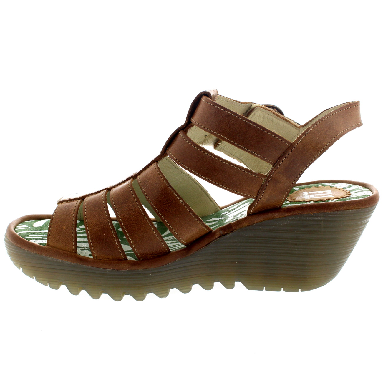 Womens Fly London Ygor Rug Leather Gladiator Summer Wedge