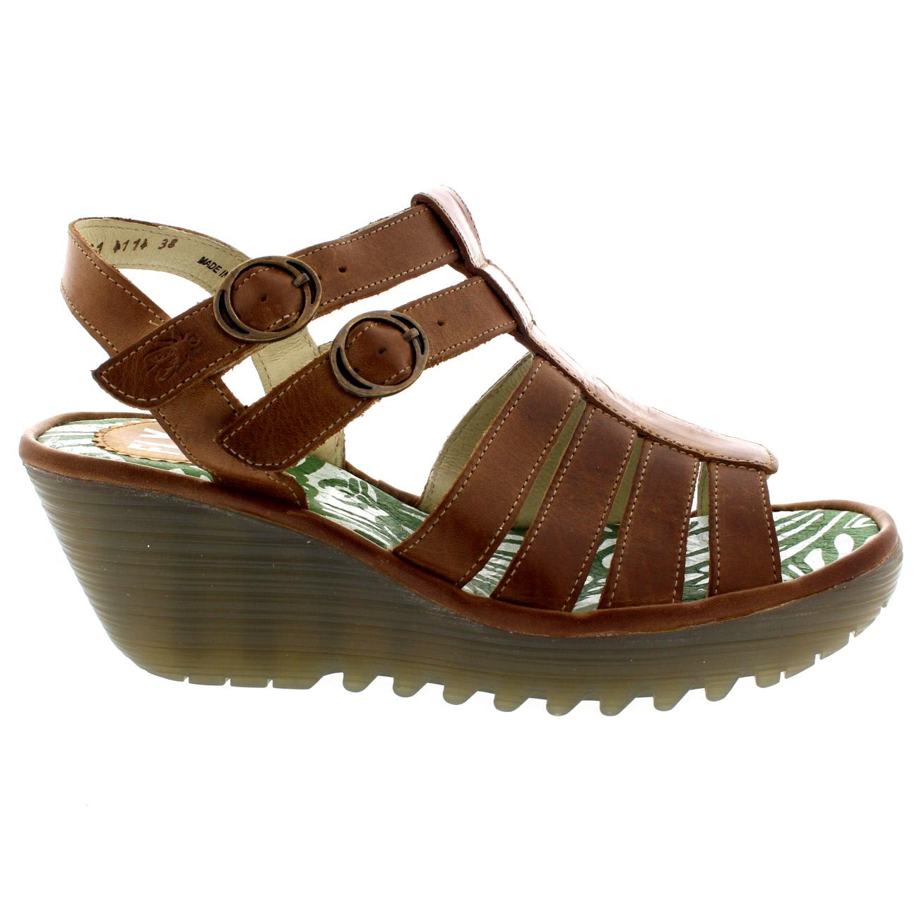 Damenschuhe Fly London Ygor Rug Leder Gladiator ... Summer Wedge Heel ... Gladiator 935761