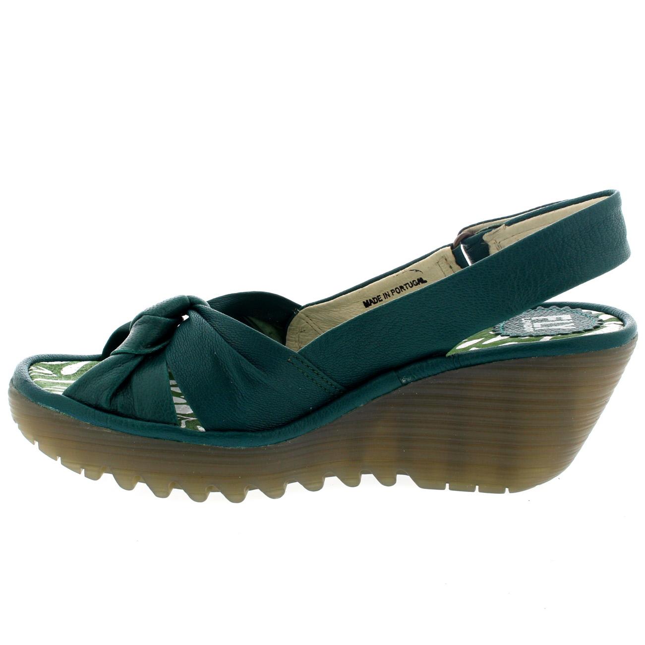 Damenschuhe Fly London Yman Mousse Wedge Heel Platform Leder Sandales UK 3-8