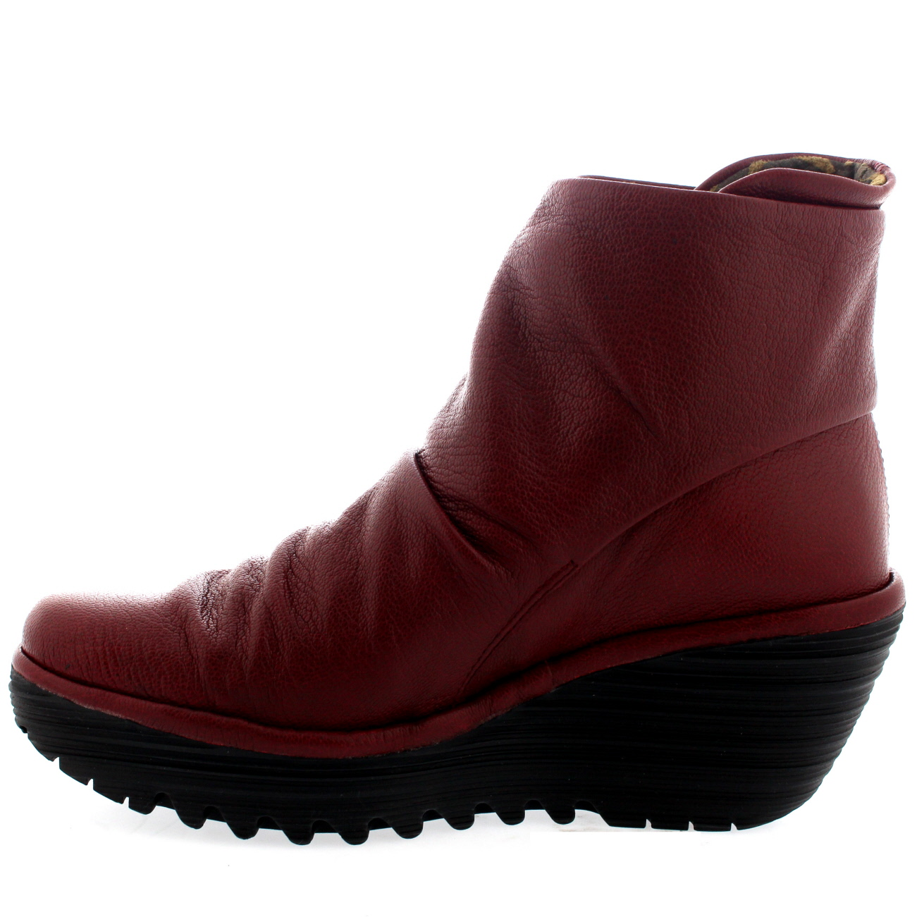 womens fly yegi wedge heel leather winter ankle boots shoes