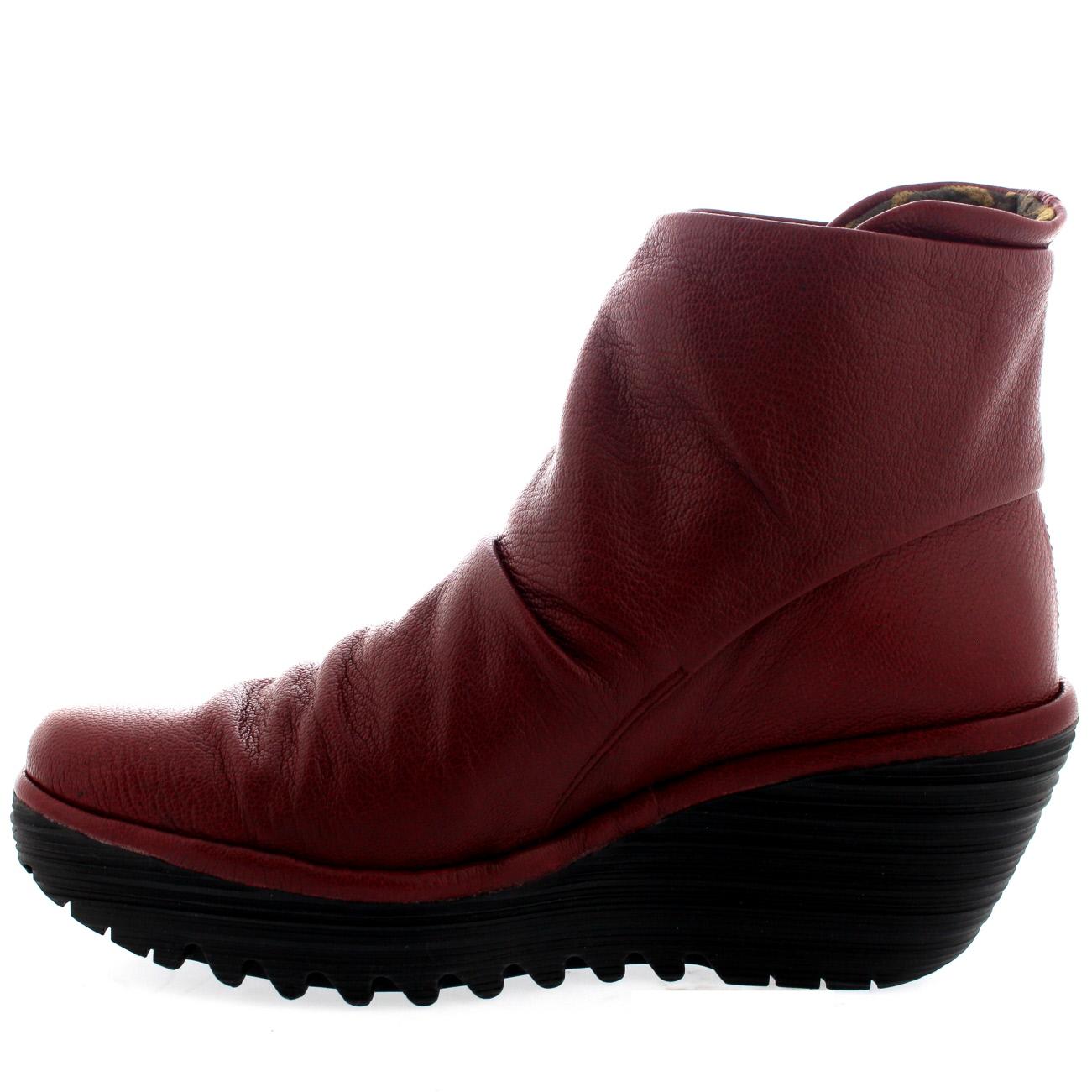 a888e244080 Fly London Yegi Black Leather Womens Wedge Velcro Ankle Boot Shoe UK ...