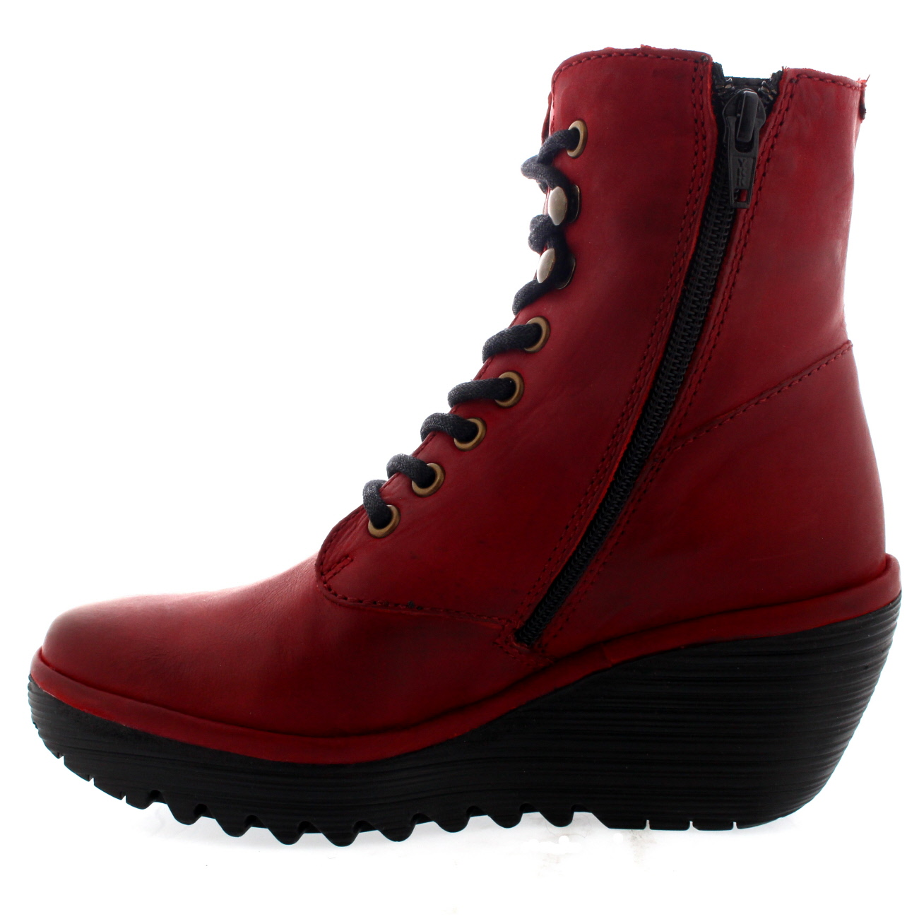 Womens Fly London Yarn Red Rug Leather Wedge Heel Ankle Boots UK Size