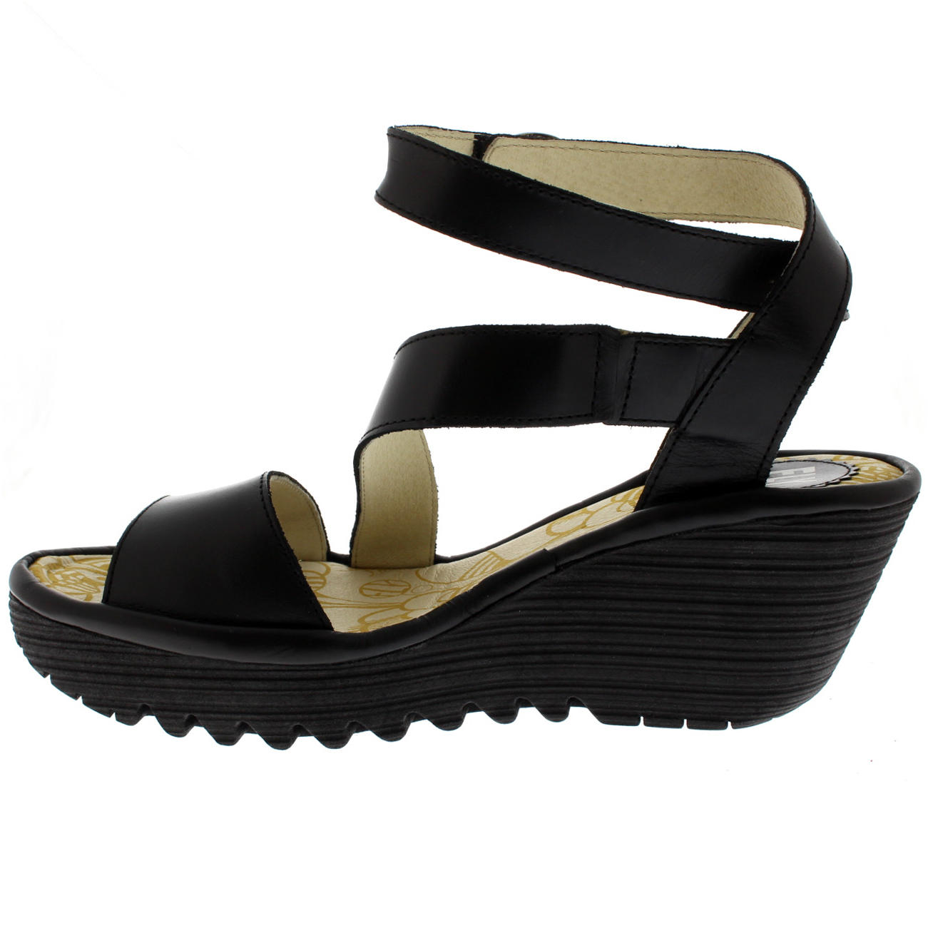 Womens Fly London Yesk Rug Leather Sandals Open Toe Wedge Heel Sandals Leather UK 3-9 85459c