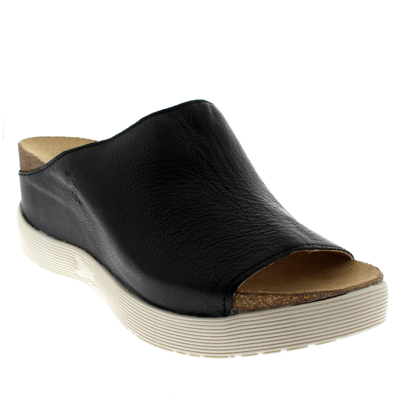 Damenschuhe Fly London Wigg Mousse Leder Open Toe Mules Wedge Heel Sandale UK 3-9