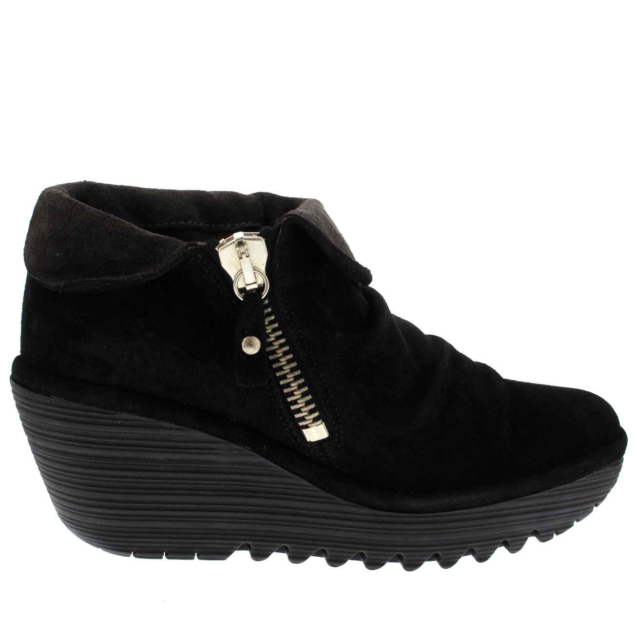 Womens Fly London Yoxi Oil Suede Fold Ankle Cuff Wedge Platform Heel Ankle Fold Boot UK 3-9 59a1c5