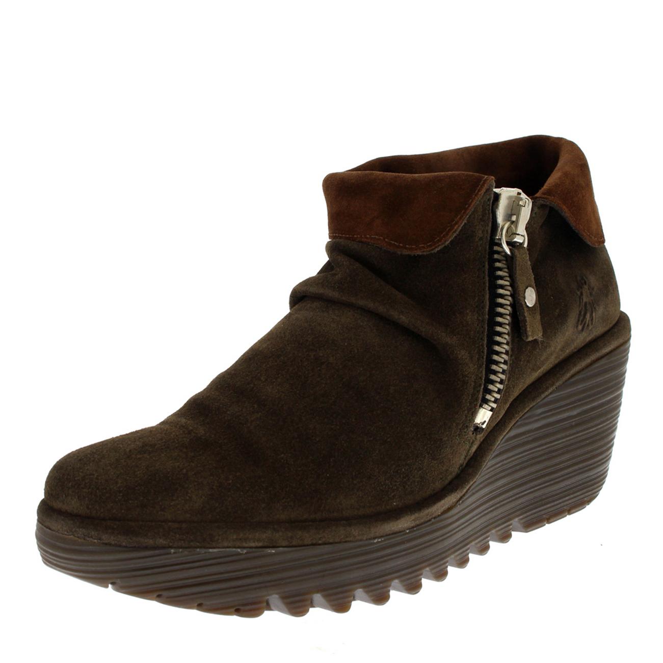 Damenschuhe Fly London Yoxi Oil Suede Fold Cuff Wedge Platform 3-9 Heel Ankle Boot UK 3-9 Platform e064bc