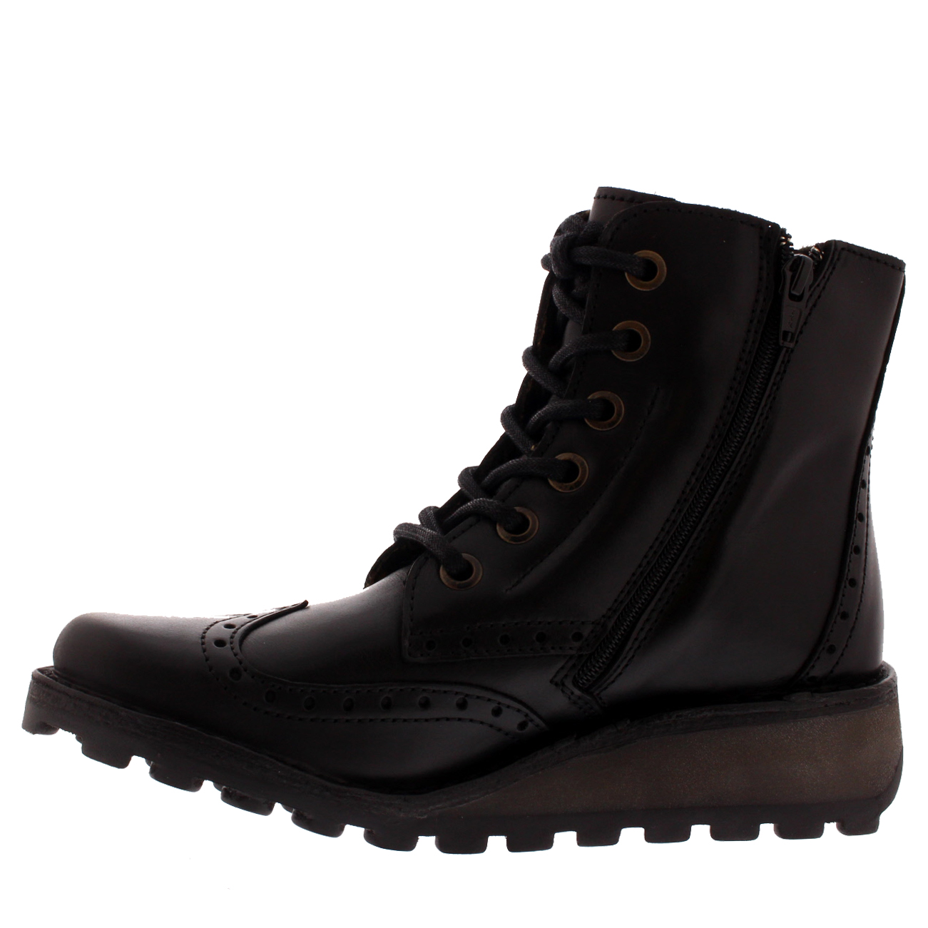 2738646ef8c Womens Fly London Black Leather Lace up Ankle BOOTS UK Size 5 *ex ...