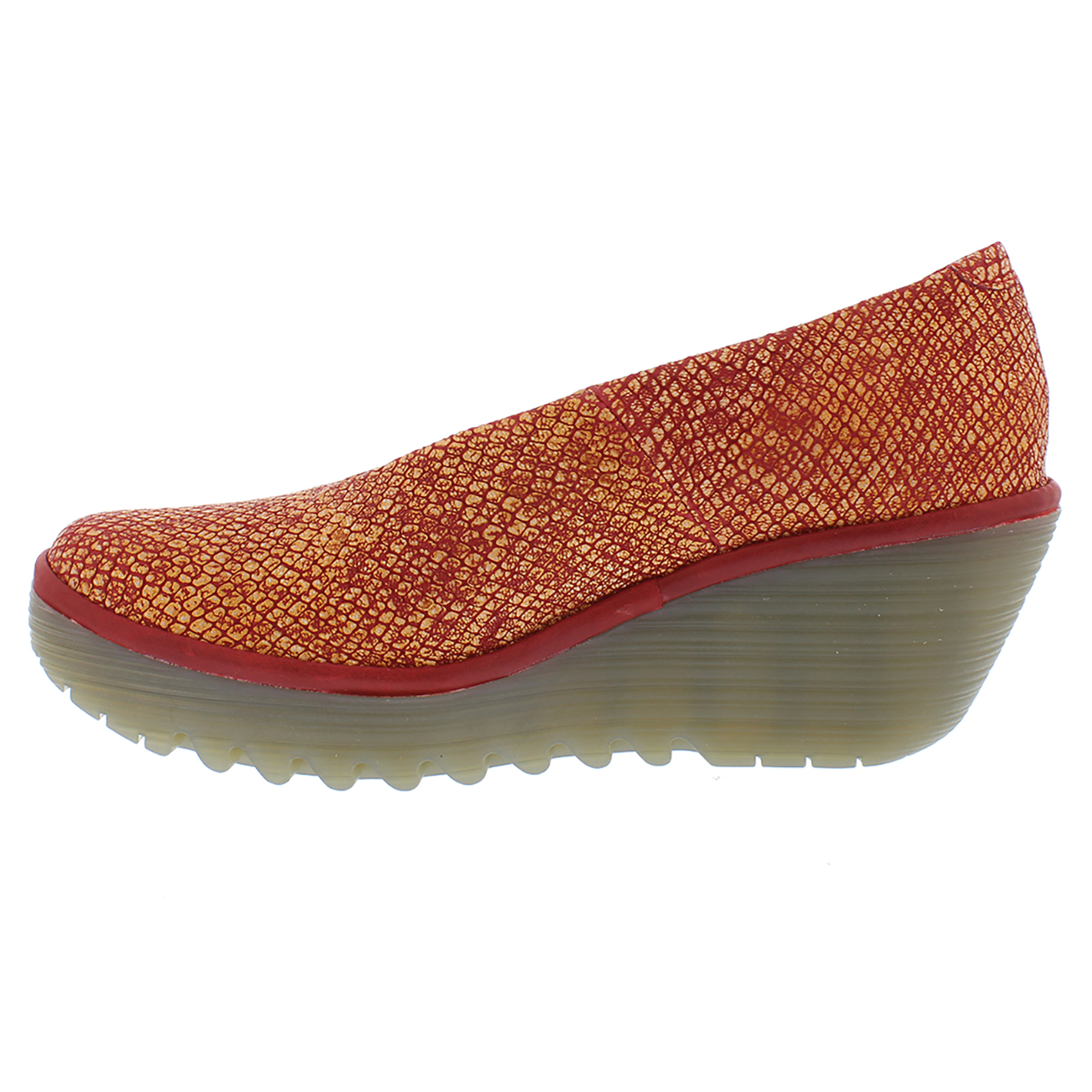 f576a711c3eb5 Womens Fly London Yaz Palm Rug Leather Closed Toe Work Office Wedge ...