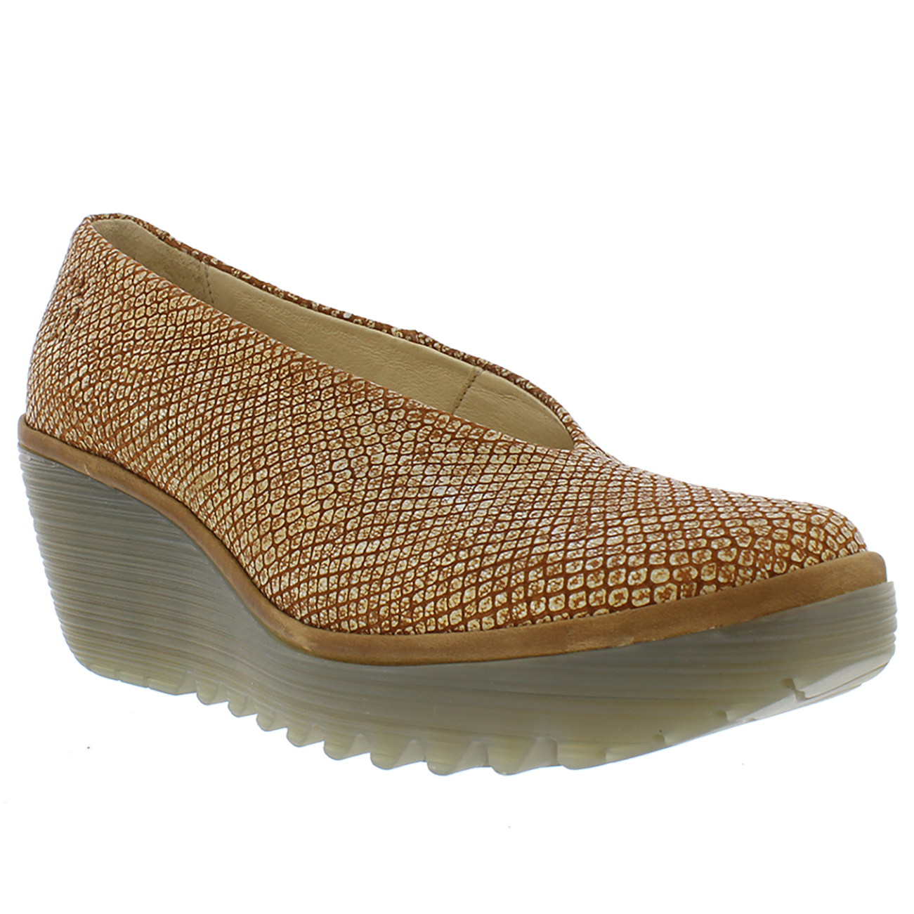 26a204c51f9ea Womens Fly London Yaz Palm Rug Leather Closed Toe Work Office Wedge Shoes  UK 3-9
