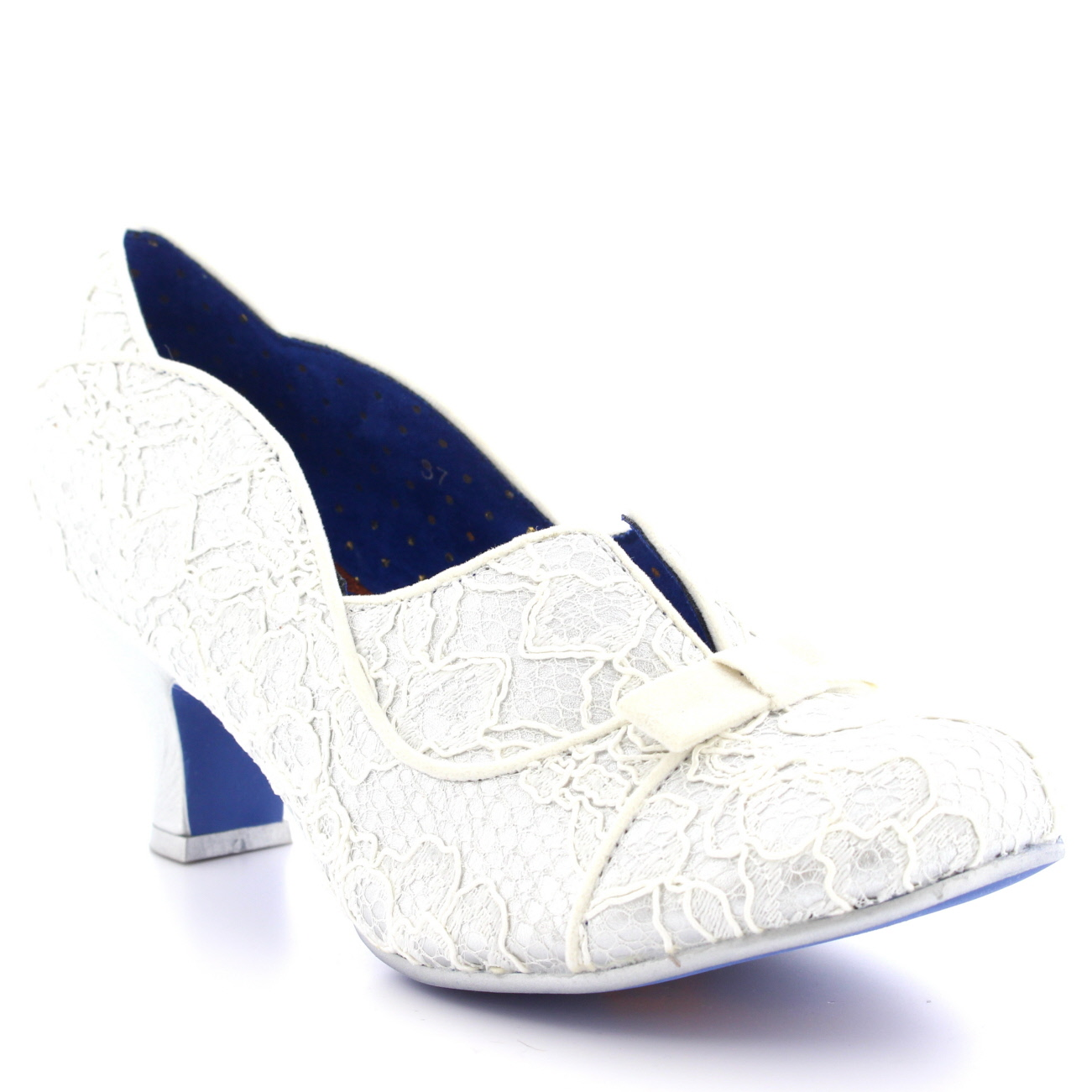 Womens Poetic Licence Hold Up Silver Party Low Heel Bridal Court Shoe UK 3.5-8.5