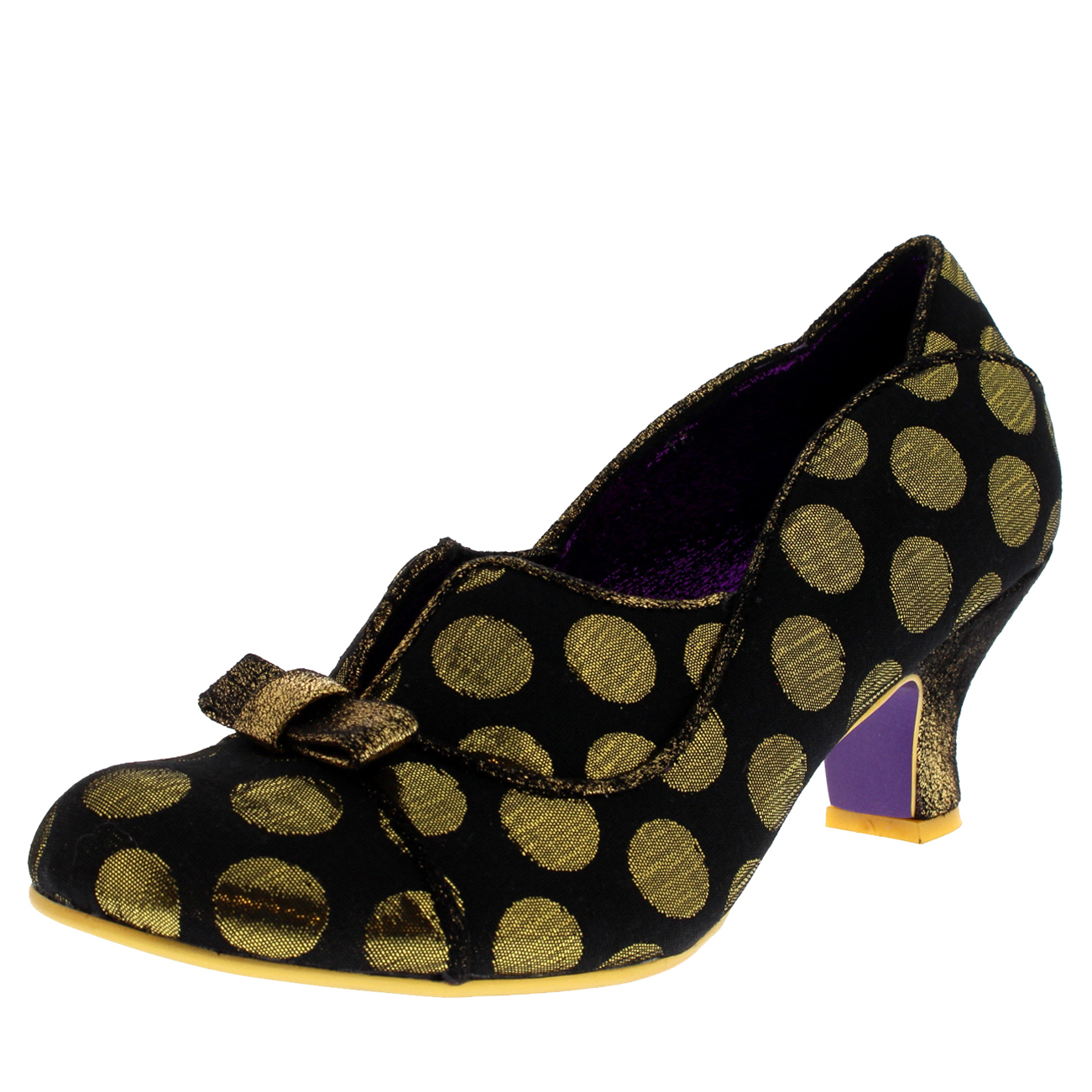 Donna Poetic Licence Hold Heel Up Polka Dot Low Heel Hold Party Court Shoes UK 3.5-8.5 600868