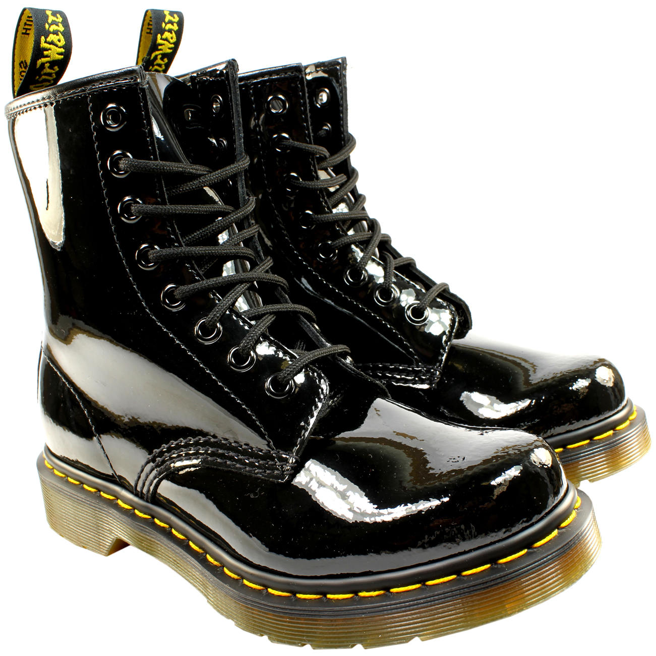 Womens Dr Martens 1460 W 8 Eyelet Patent Lamper Army Combat Lace Up ... 827b8712cf
