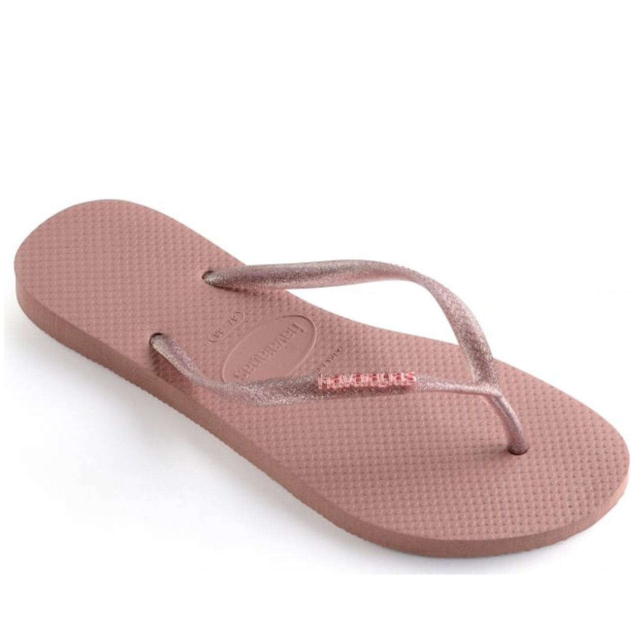 Womens Havaianas Slim Logo Metallic Rubber Lightweight Holiday Flip Flops UK 3-8