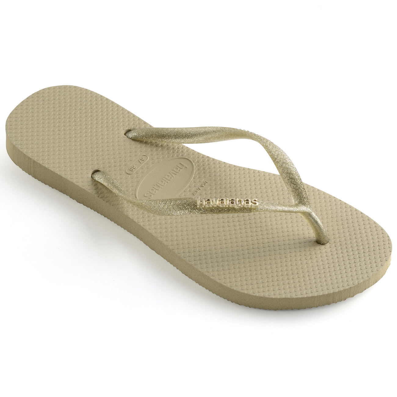 6e4b6ecfc9d83 Havaianas Slim Logo Metallic Flip Flops. Uk8 Sand Grey light Golden ...