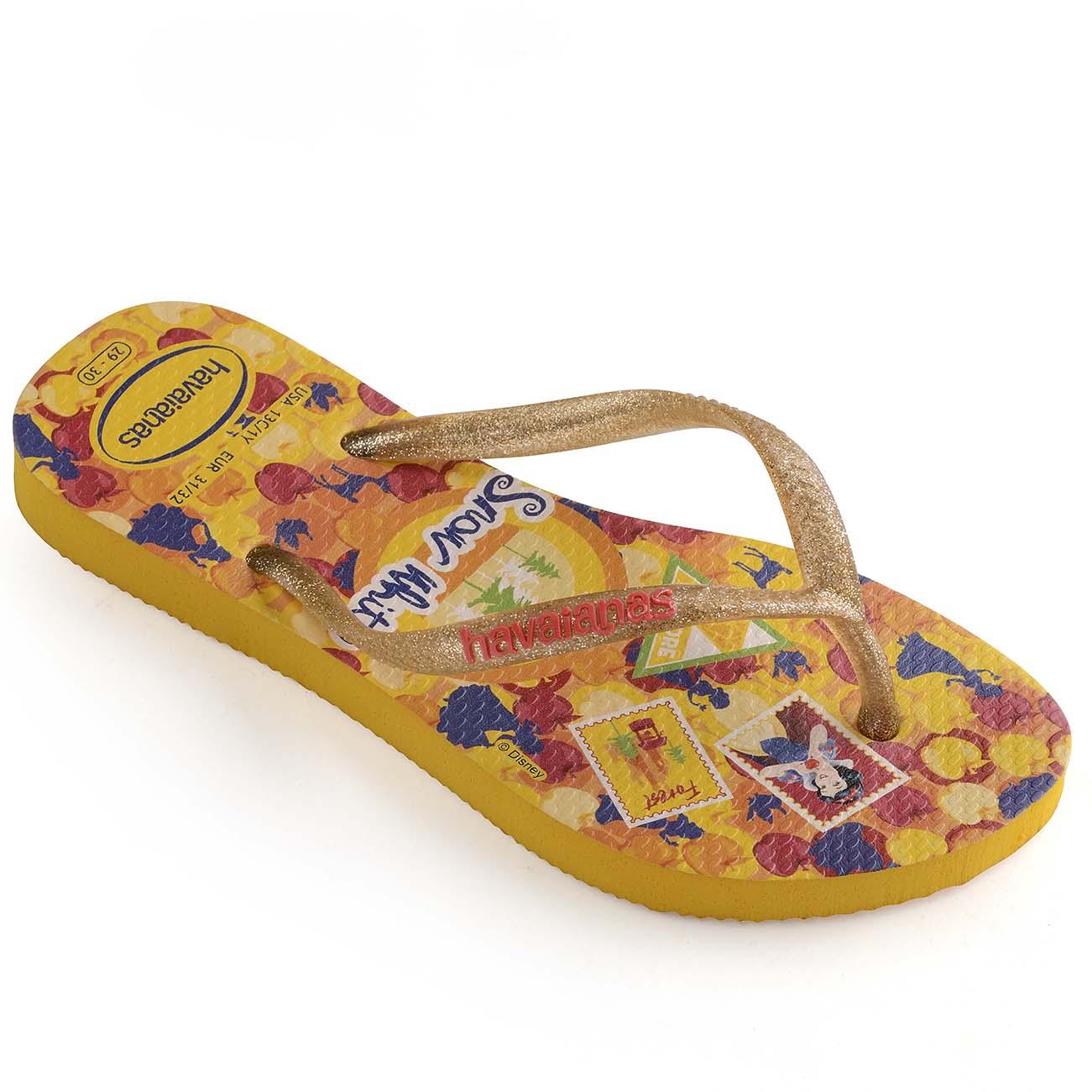 73b47786 Kids Girls Havaianas Slim Princess Lightweight Disney Rubber Flip Flops UK  8-4