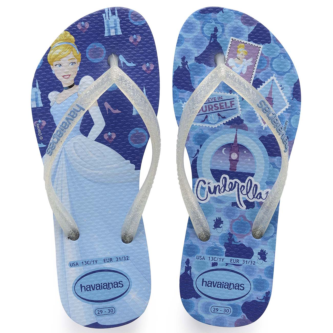 cfaba32da Kids Girls Havaianas Slim Princess Lightweight Disney Rubber Flip ...