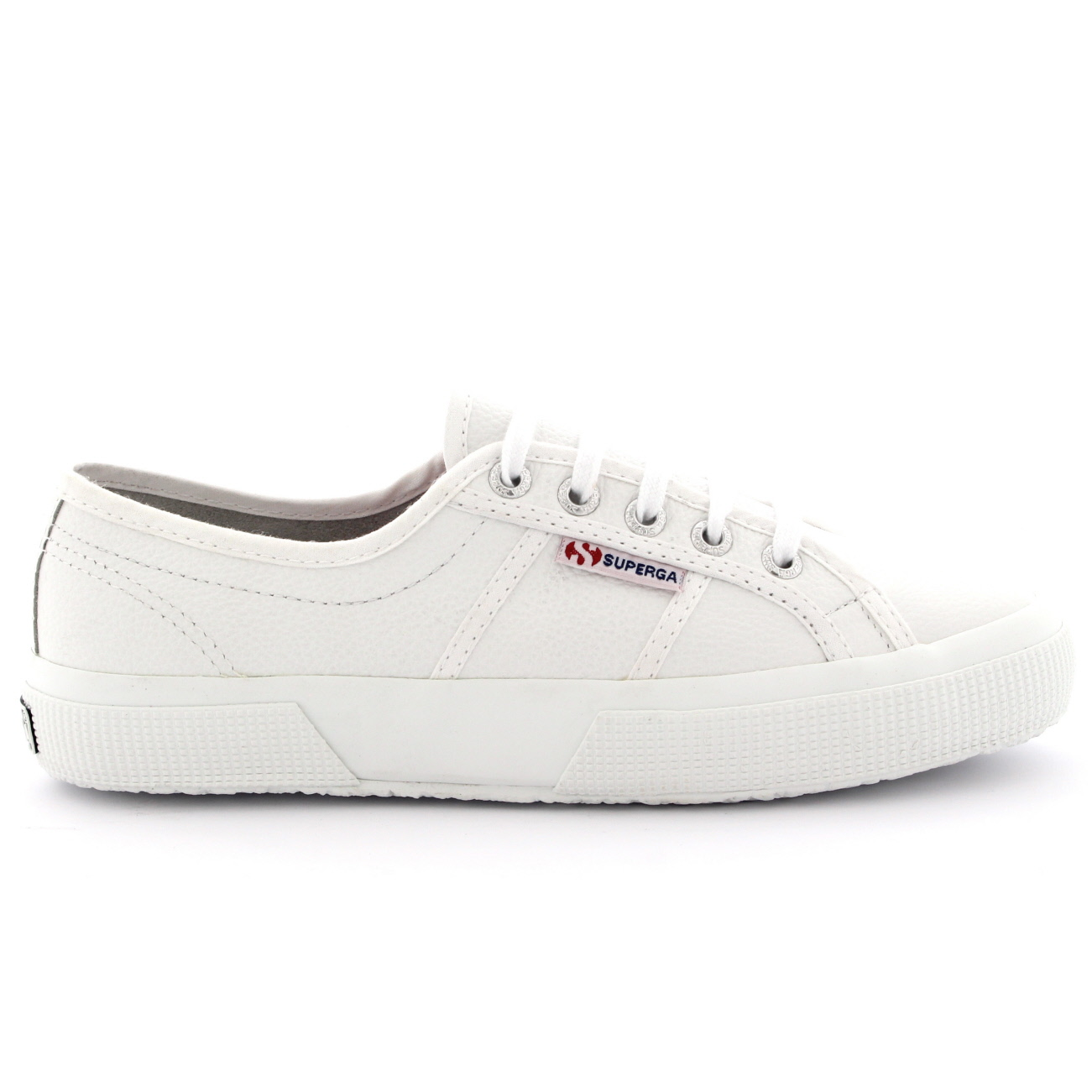 Womens Superga 2750 Efglu Lace Up Leather Low Top White Casual Trainers UK  3-9 4efe9e320