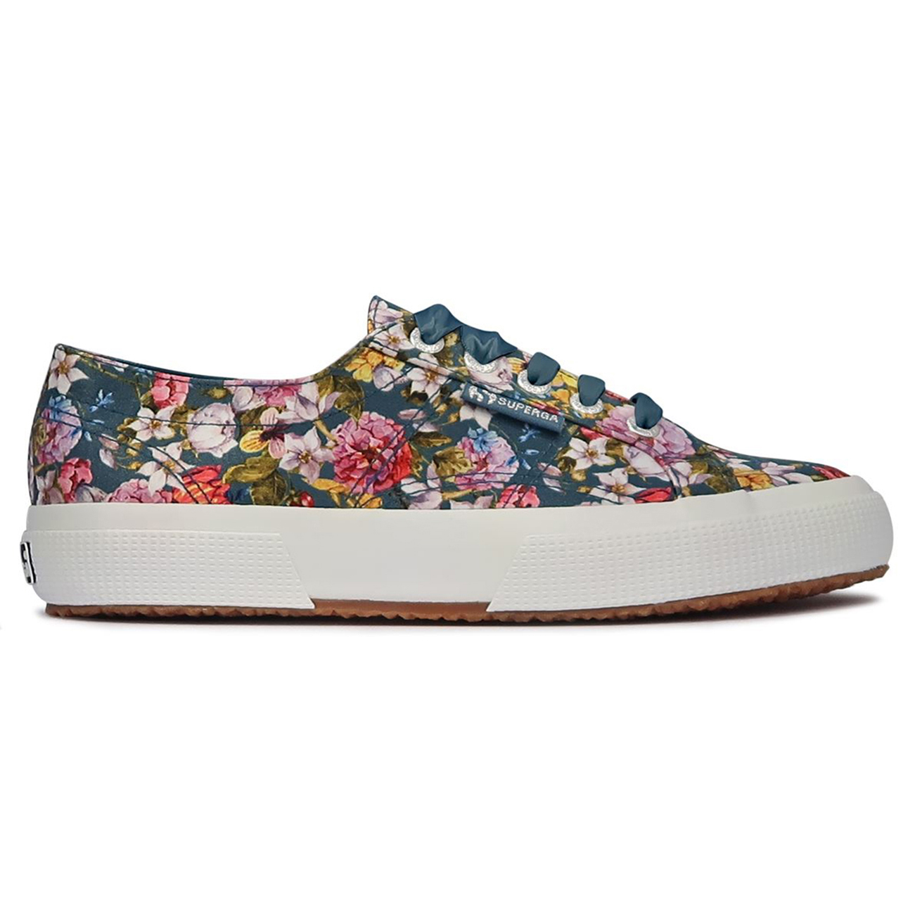Womens Superga 2750 Flowery Satin Closed Toe Low Top Lace Up Trainers UK 3-9
