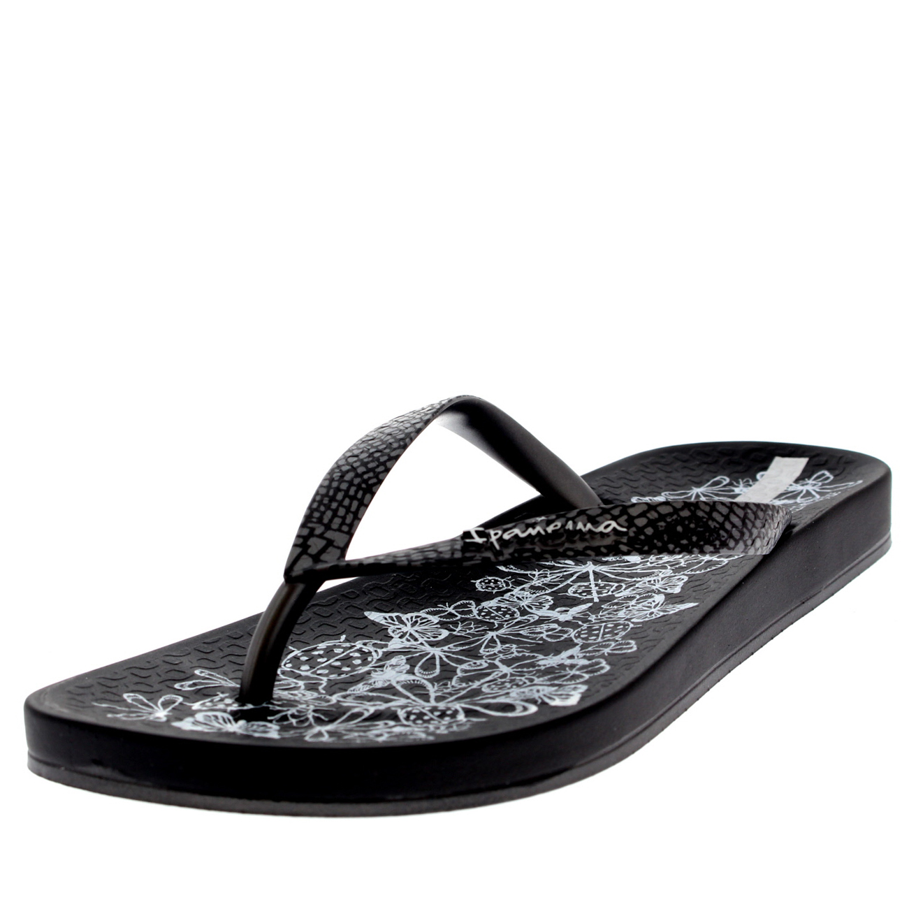 Ipanema Womens Sparkle Lightweight Glitter Toe Post Rubber Flip Flops - Dark Gray - 8