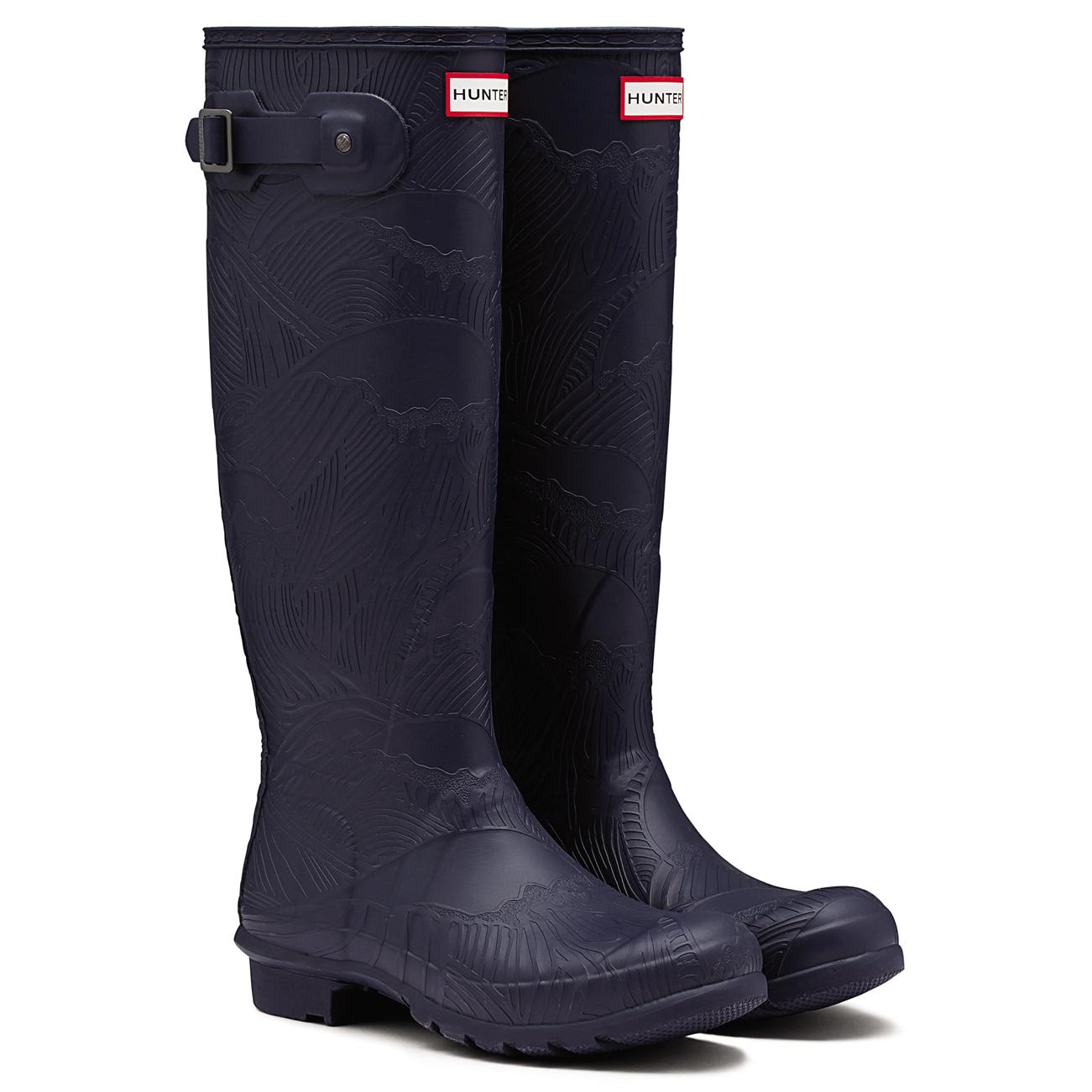 Mujer Hunter Hunter Hunter Original Tall Onda Con Textura Wellington Invierno botas De Nieve UK 3-9 5a4208