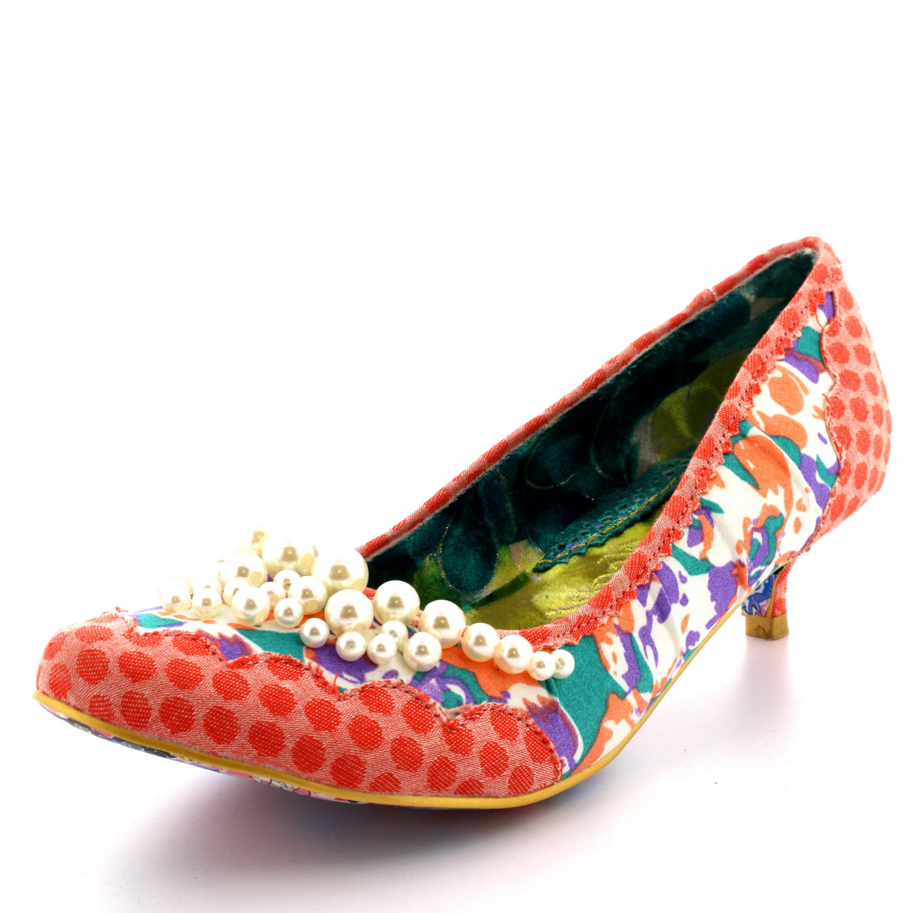 a19928d4230 Womens Irregular Choice Pearly Girl Low Kitten Heels Vintage Shoes ...