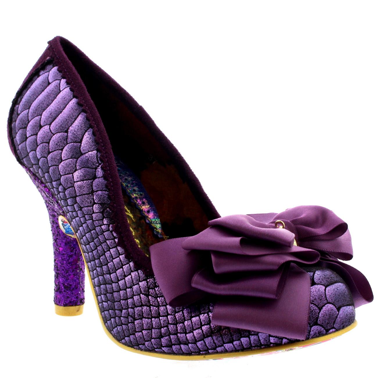 Womens Irregular Choice Ascot Glitter Metallic High Heel Court ...