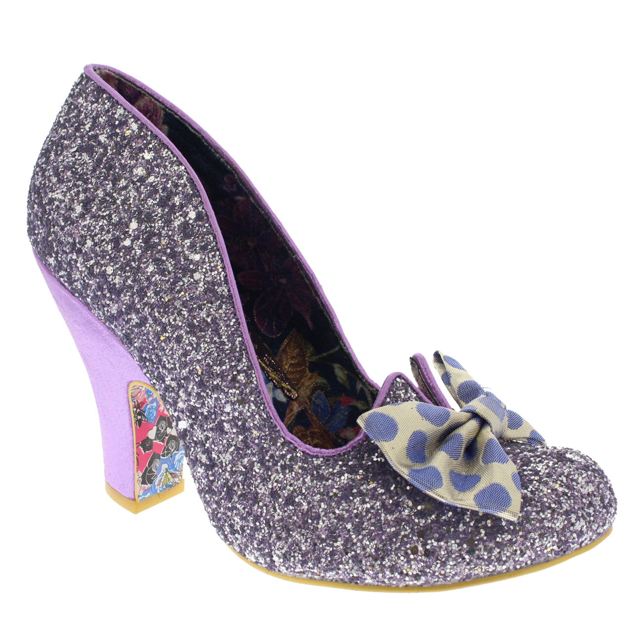 c1fd8dc4f48 Details about Womens Irregular Choice Nick Of Time Bow Mid Heel Glitter  Court Shoes UK 3.5-8.5