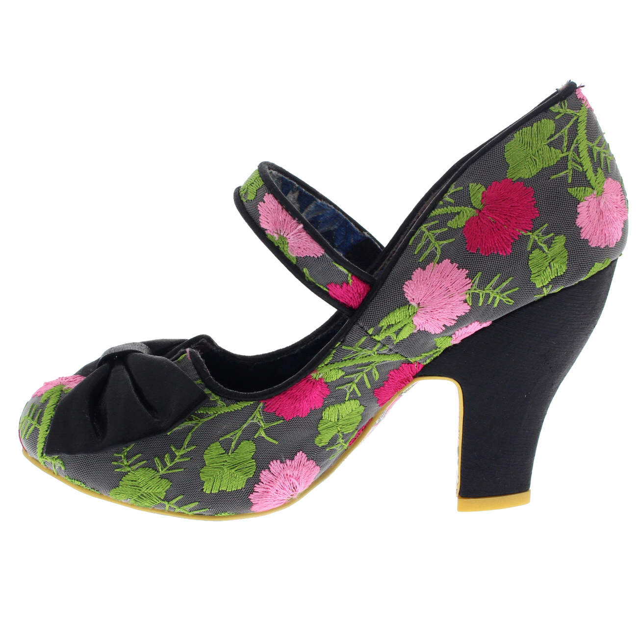 Irregular Choice Fancy This Black Floral Multi Bow Bar Heel Court ...