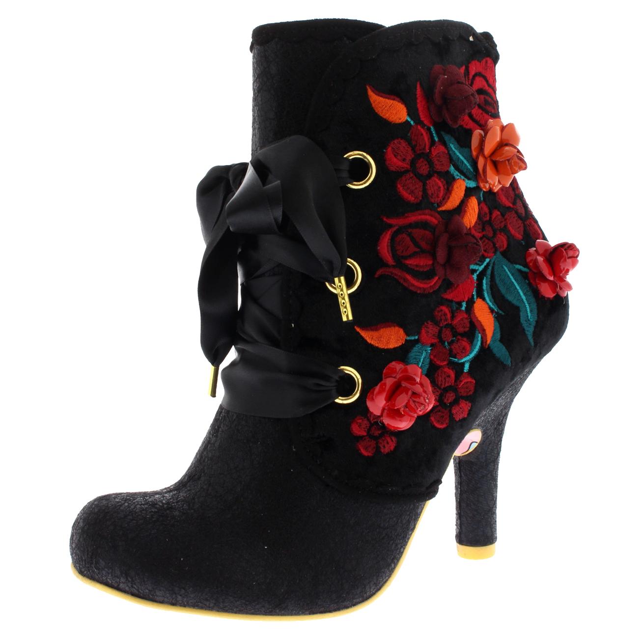 Womens Irregular Choice Butumn Harvest Floral Bnkle Boot High Heels UK 3.5-8.5