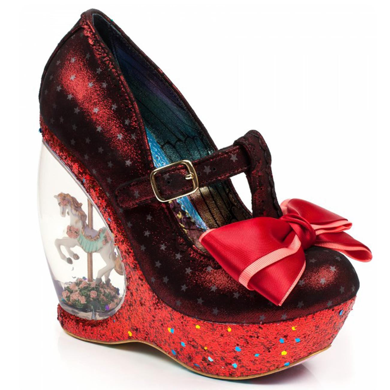 a63541d649b Womens Irregular Choice Chestnut Glitter Carousel Wedge Platform Shoes UK  3.5-8