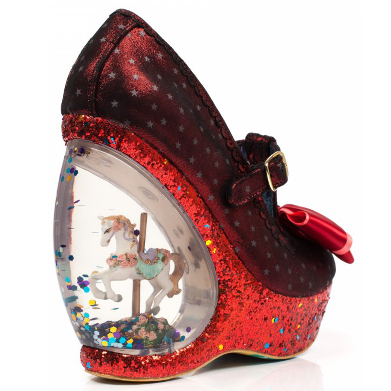 173389e7ef9 Womens Irregular Choice Chestnut Glitter Carousel Wedge Platform ...